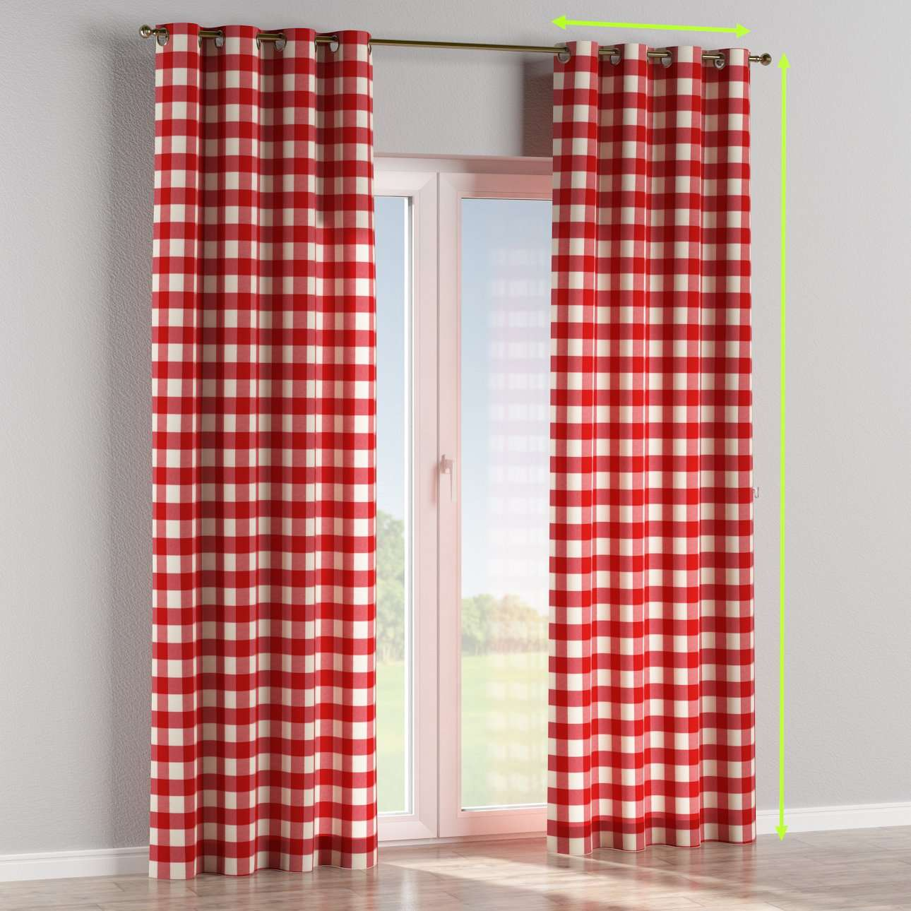 Eyelet lined curtains in collection Quadro, fabric: 136-18