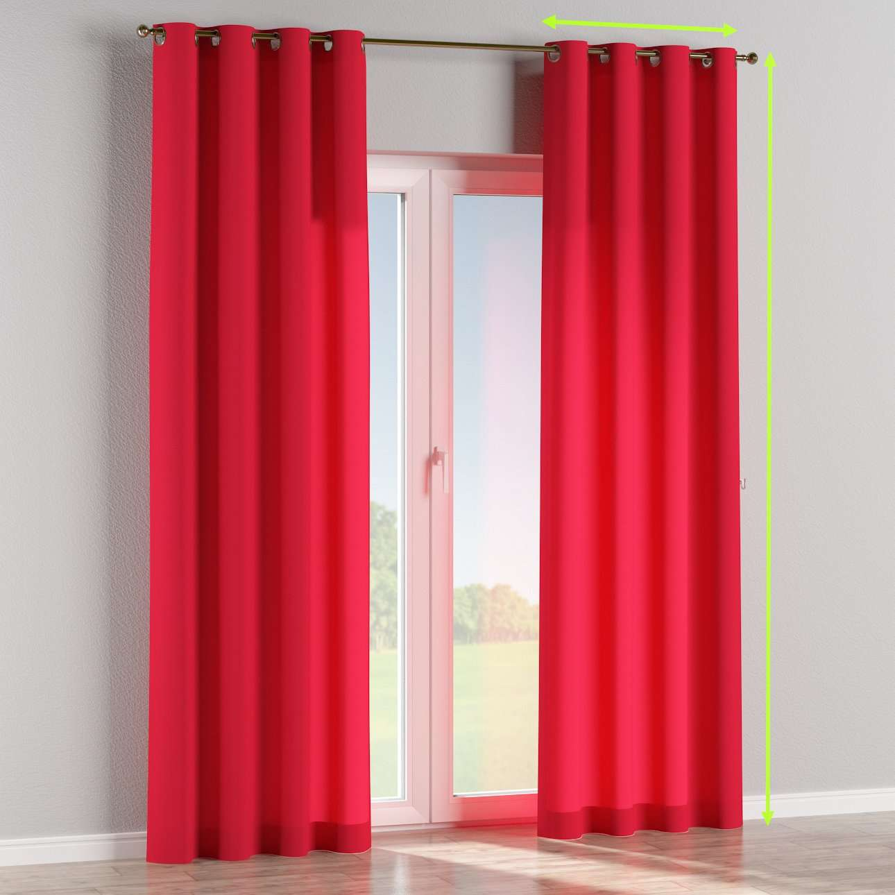 Eyelet lined curtains in collection Quadro, fabric: 136-19