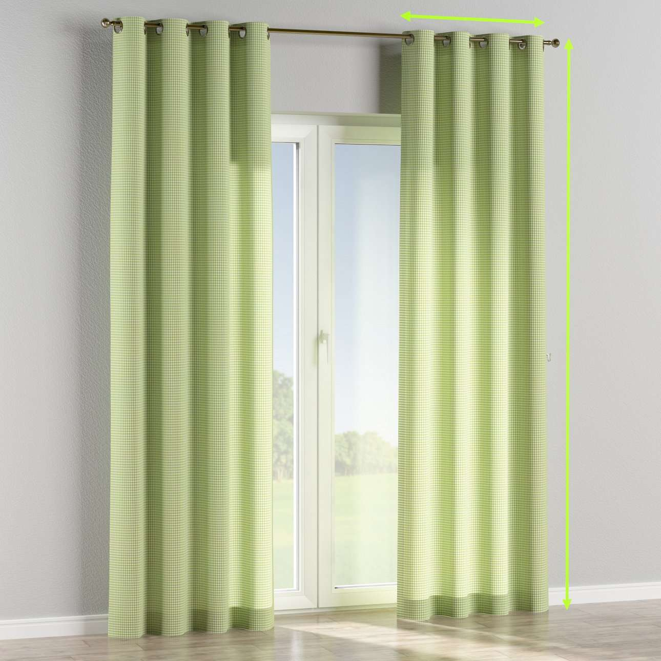 Eyelet lined curtains in collection Quadro, fabric: 136-33