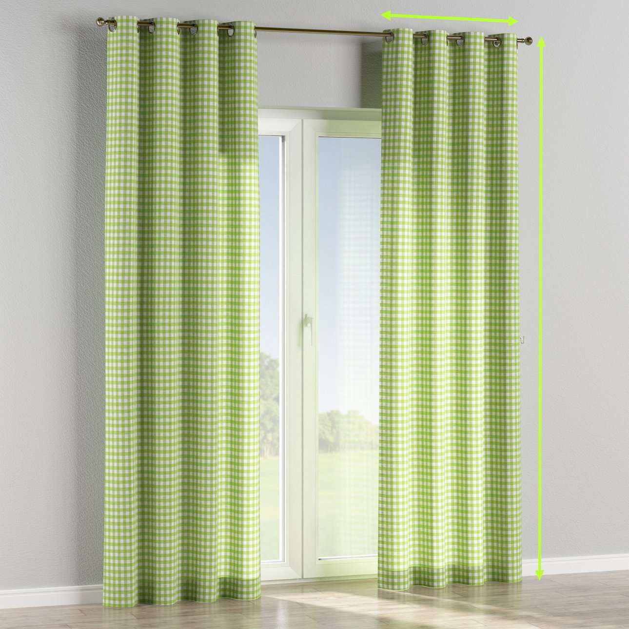 Eyelet lined curtains in collection Quadro, fabric: 136-34