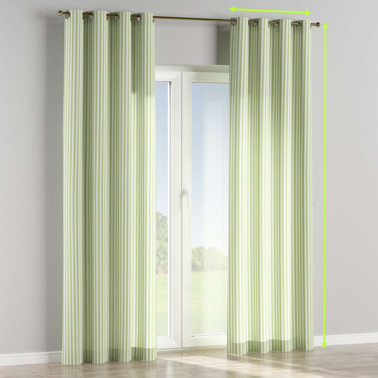 Eyelet lined curtains in collection Quadro, fabric: 136-35