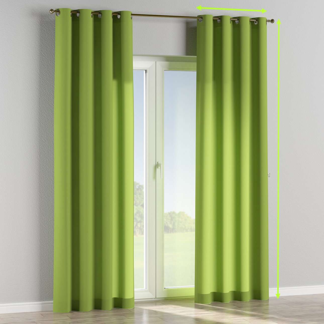 Eyelet lined curtains in collection Quadro, fabric: 136-37