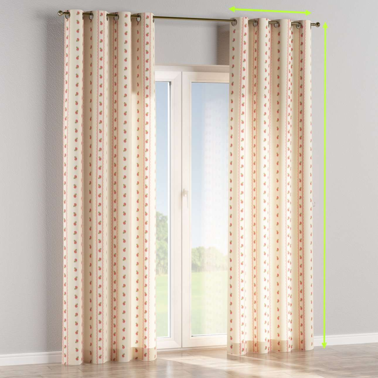 Eyelet lined curtains in collection Ashley, fabric: 137-48