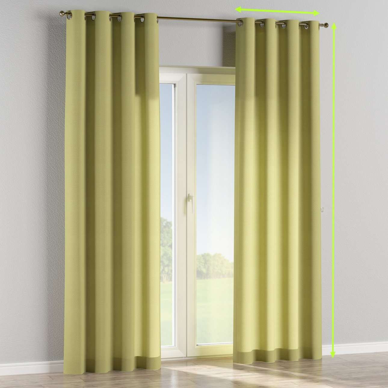 Eyelet lined curtains in collection Ashley, fabric: 137-51