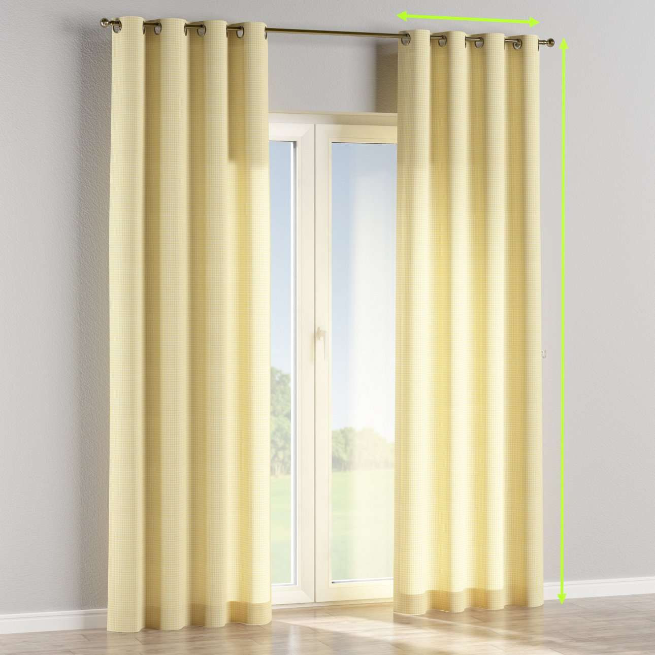Eyelet lined curtains in collection Ashley, fabric: 137-64