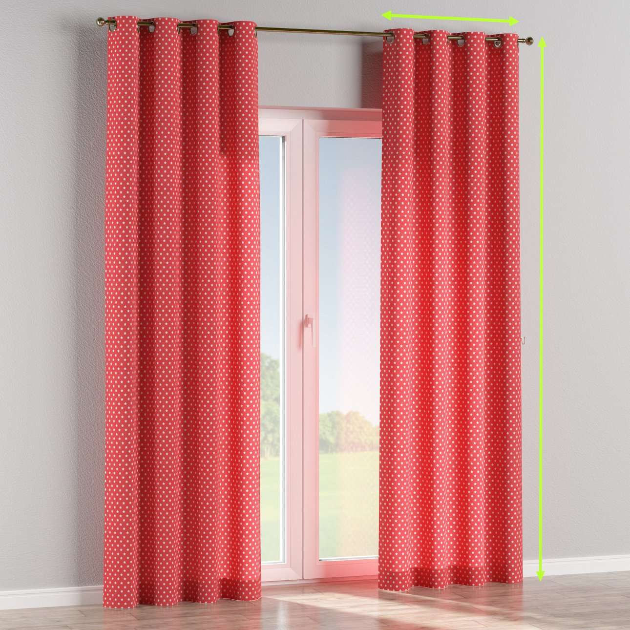 Eyelet lined curtains in collection Ashley, fabric: 137-69