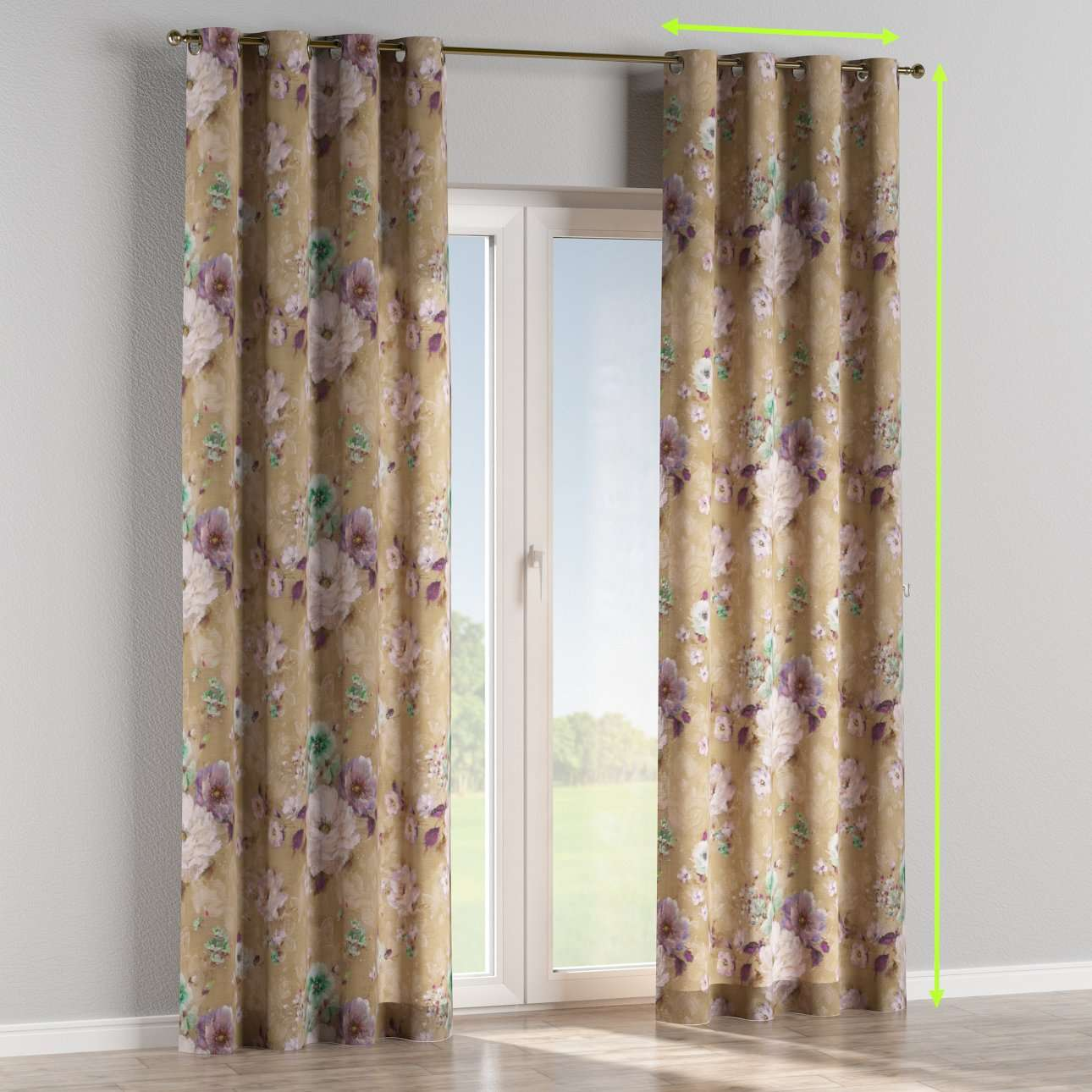 Eyelet lined curtains in collection Monet, fabric: 137-82