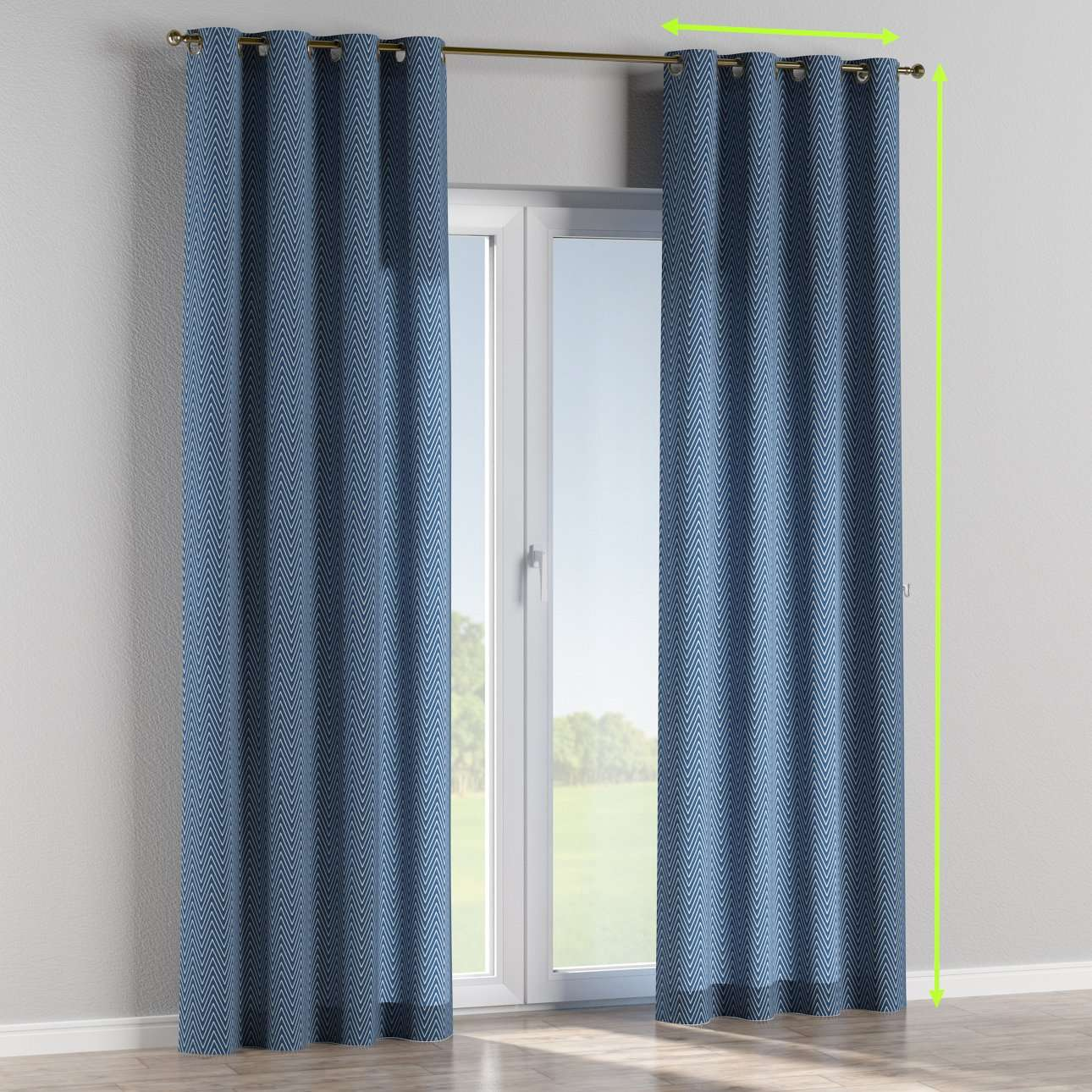Eyelet lined curtains in collection Brooklyn, fabric: 137-88