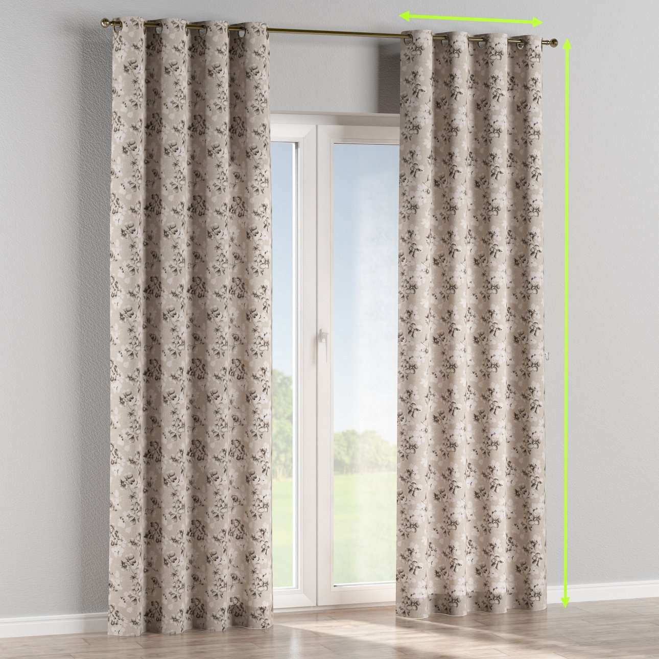 Eyelet lined curtains in collection Rustica, fabric: 138-14