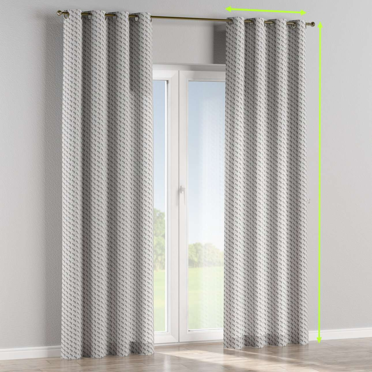 Eyelet lined curtains in collection Rustica, fabric: 138-18