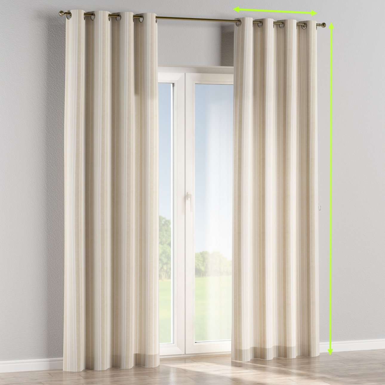 Eyelet lined curtains in collection Rustica, fabric: 138-24