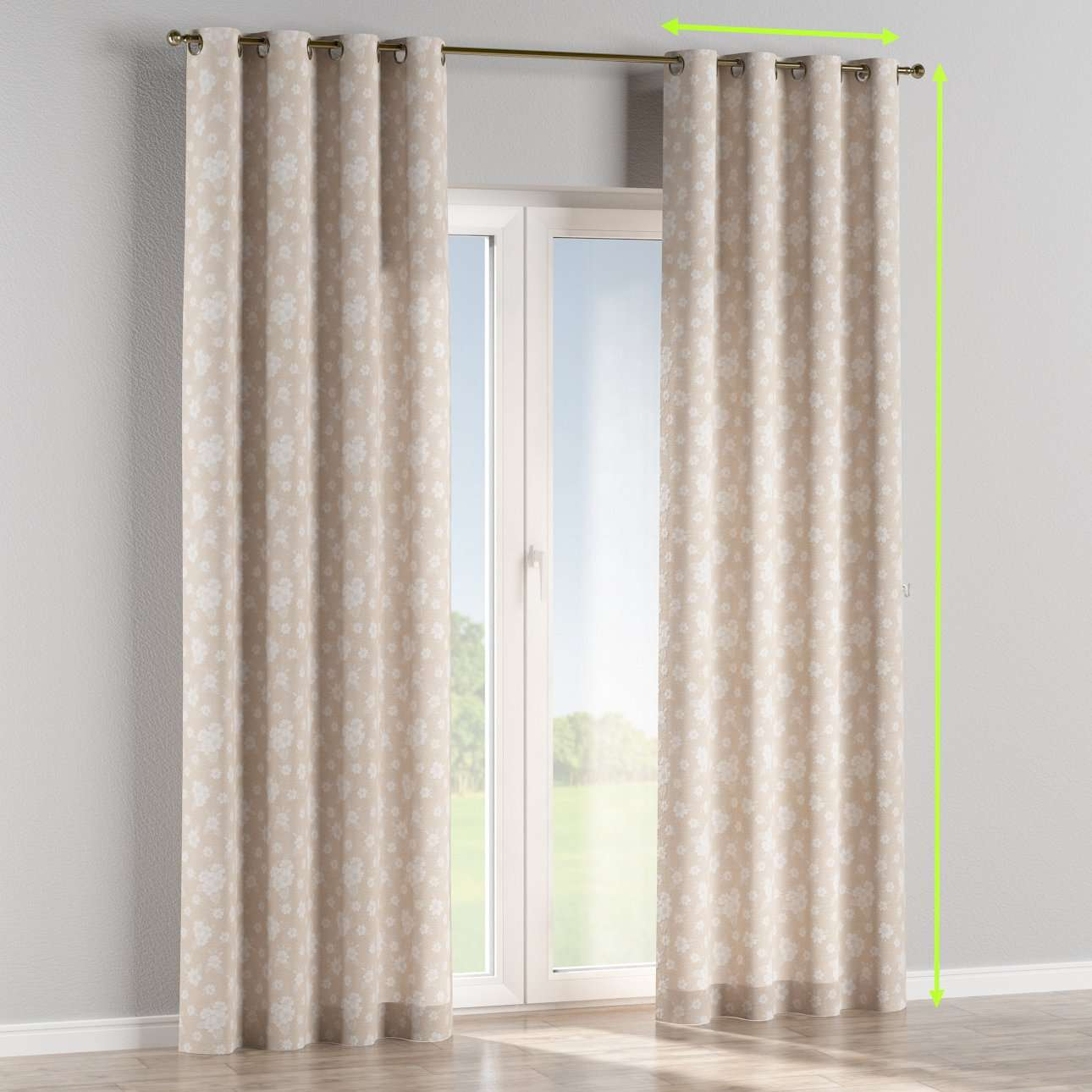 Eyelet lined curtains in collection Rustica, fabric: 138-26