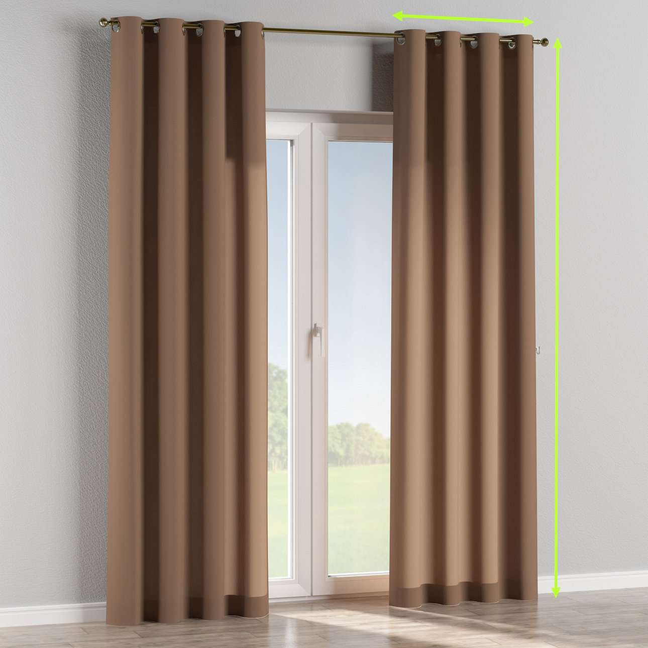 Eyelet lined curtains in collection Fleur , fabric: 139-15