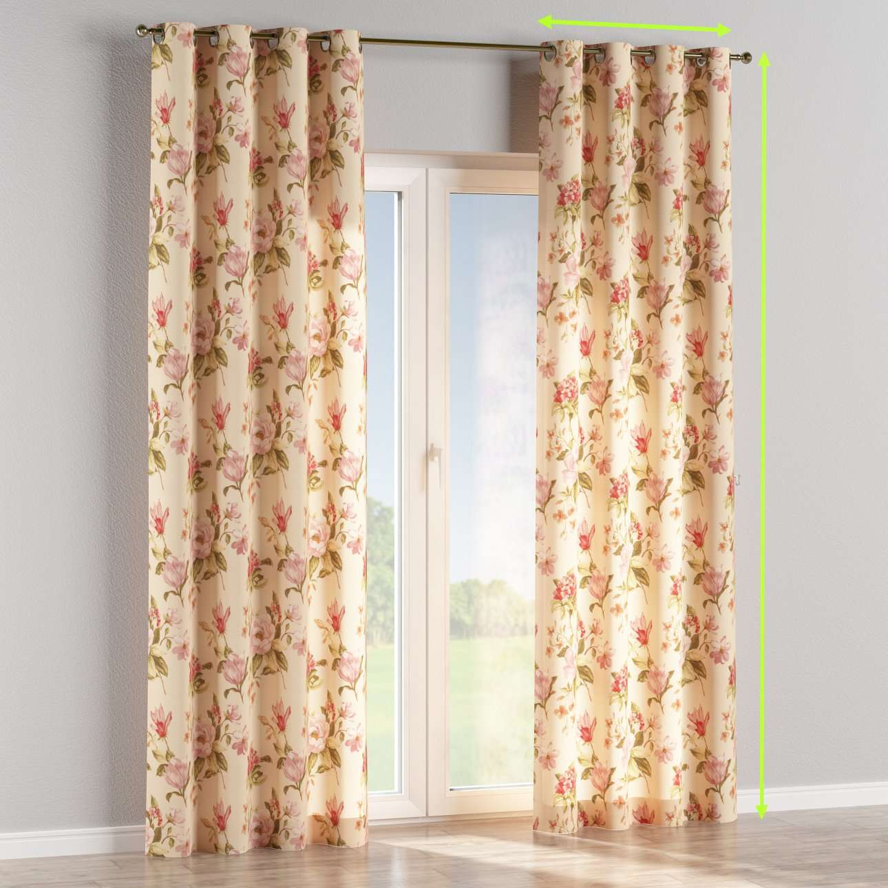 Eyelet lined curtain in collection Londres, fabric: 123-05