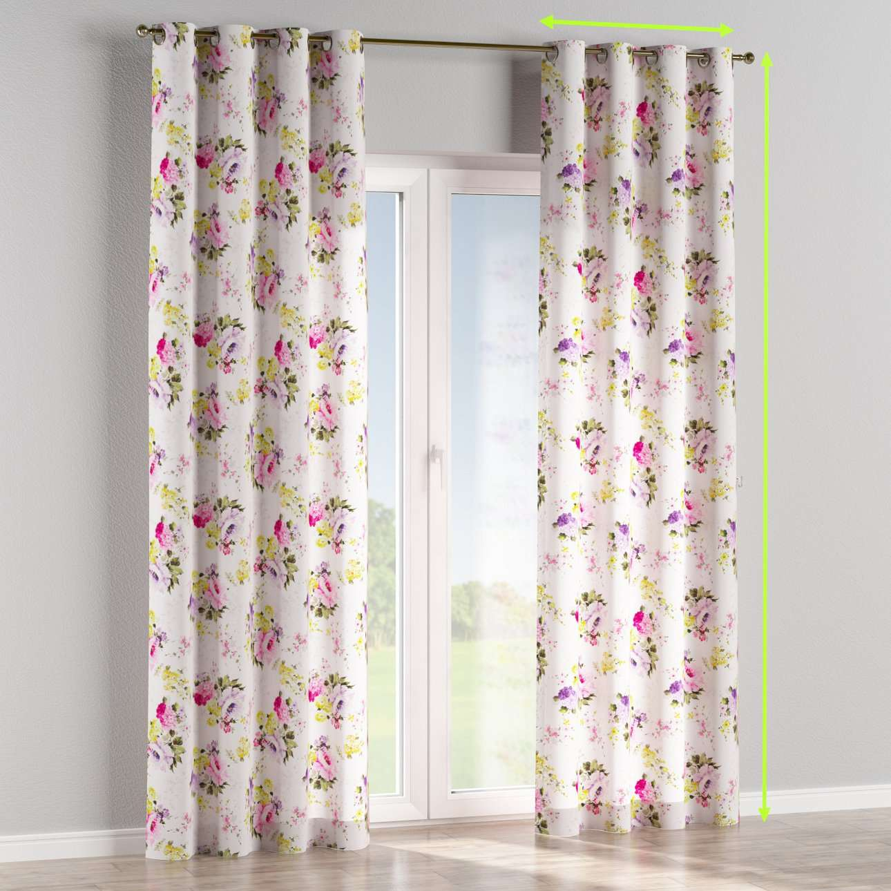 Eyelet lined curtains in collection Monet, fabric: 140-00