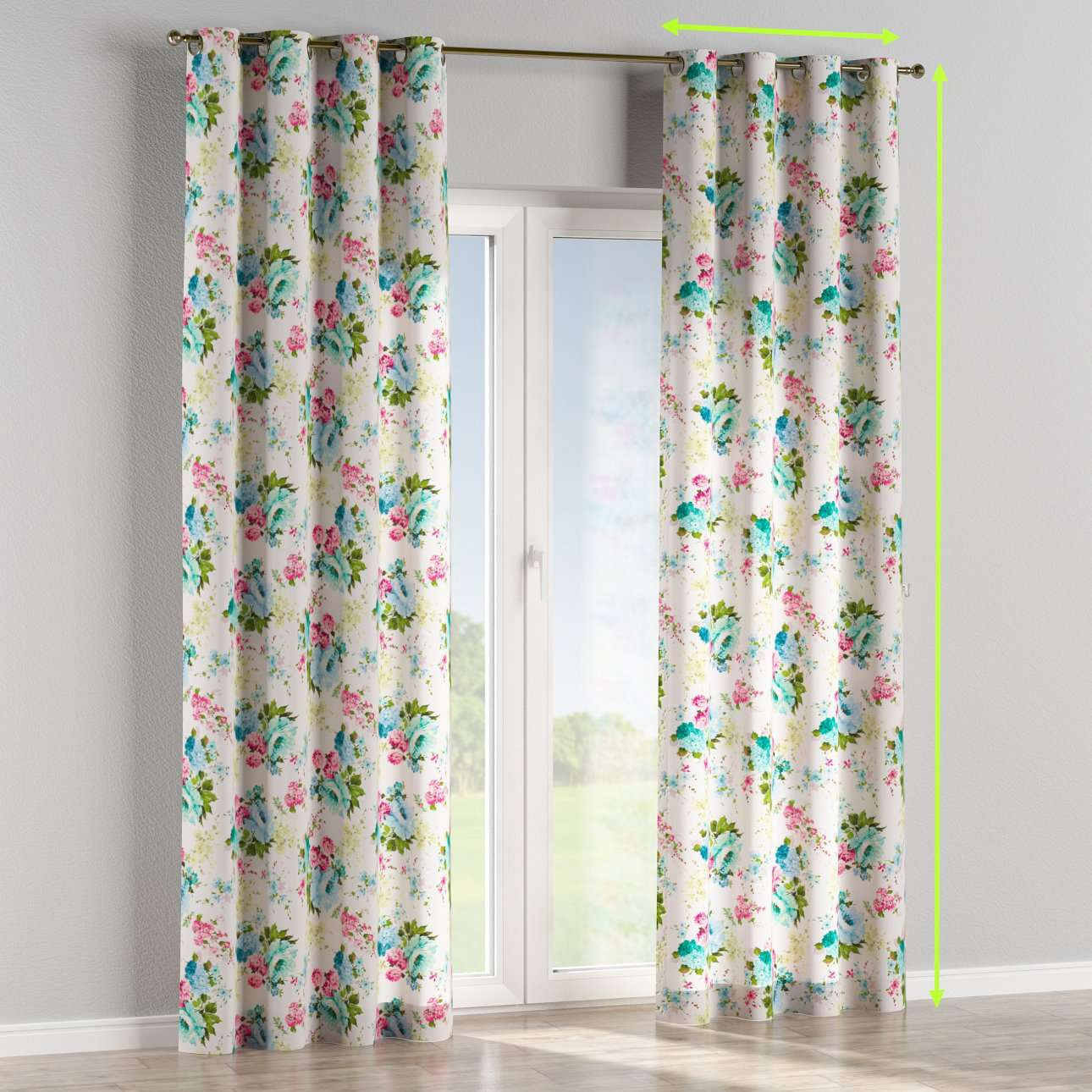 Eyelet lined curtains in collection Monet, fabric: 140-02