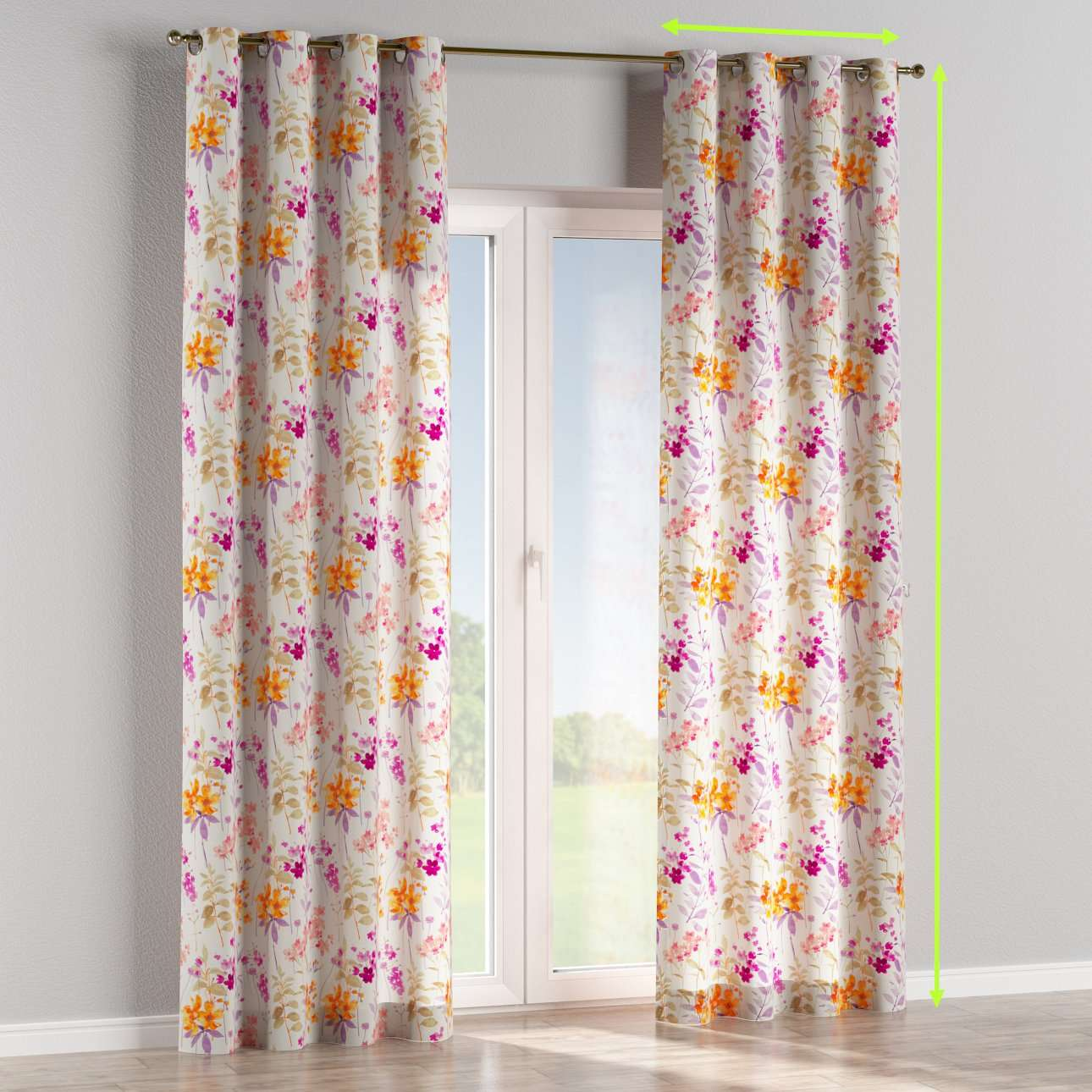 Eyelet lined curtains in collection Monet, fabric: 140-04