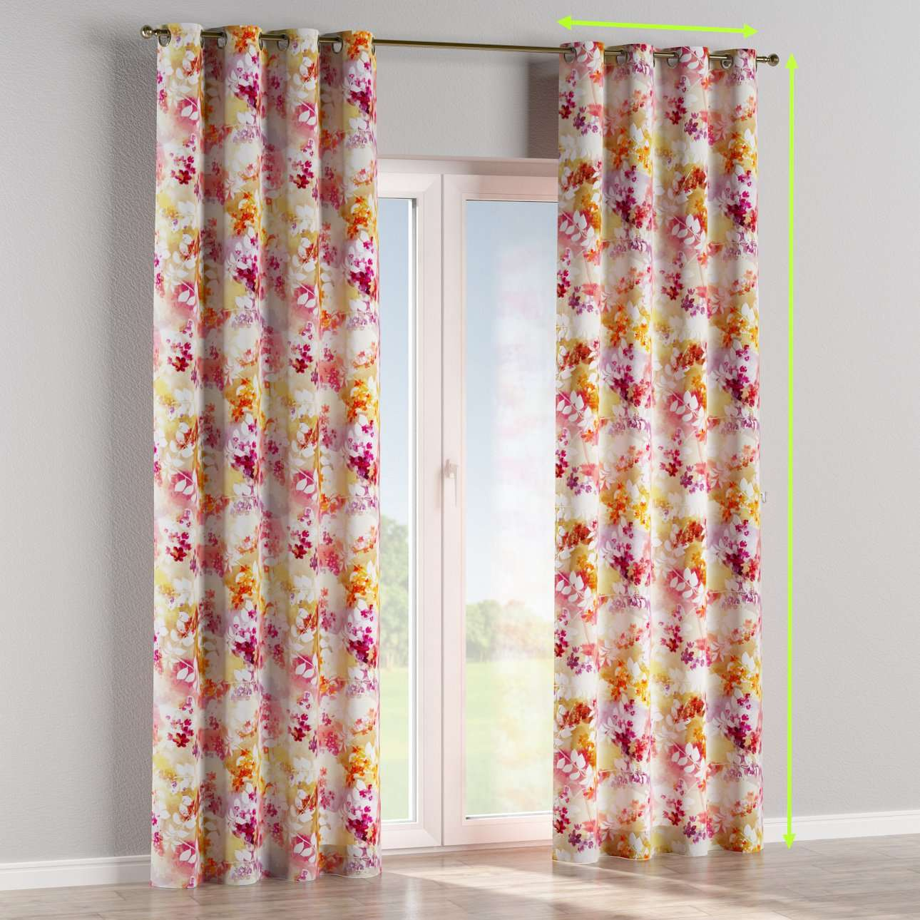 Eyelet lined curtains in collection Monet, fabric: 140-05