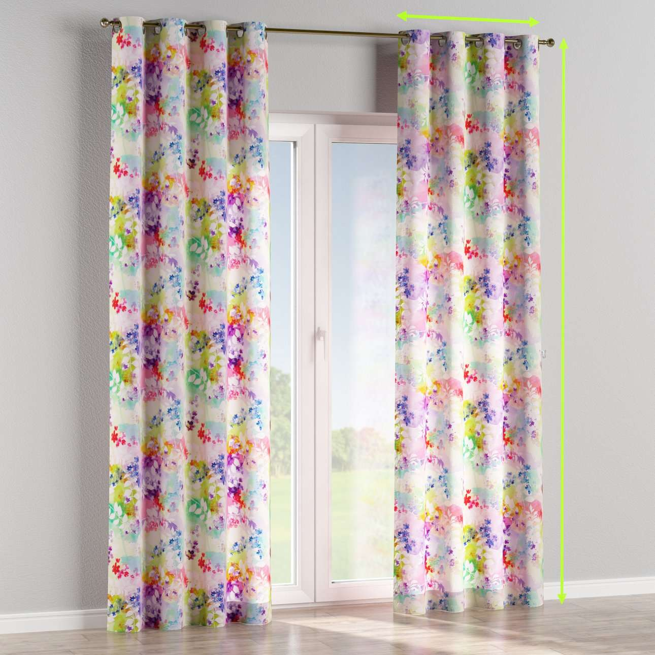 Eyelet lined curtains in collection Monet, fabric: 140-07