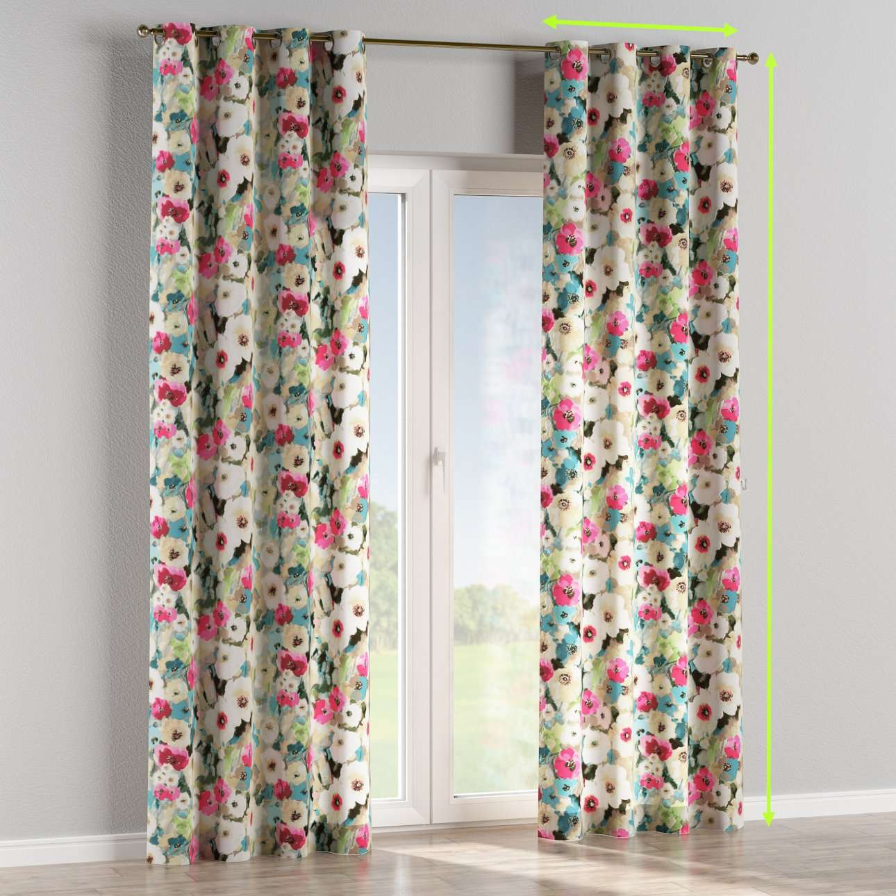 Eyelet lined curtains in collection Monet, fabric: 140-08