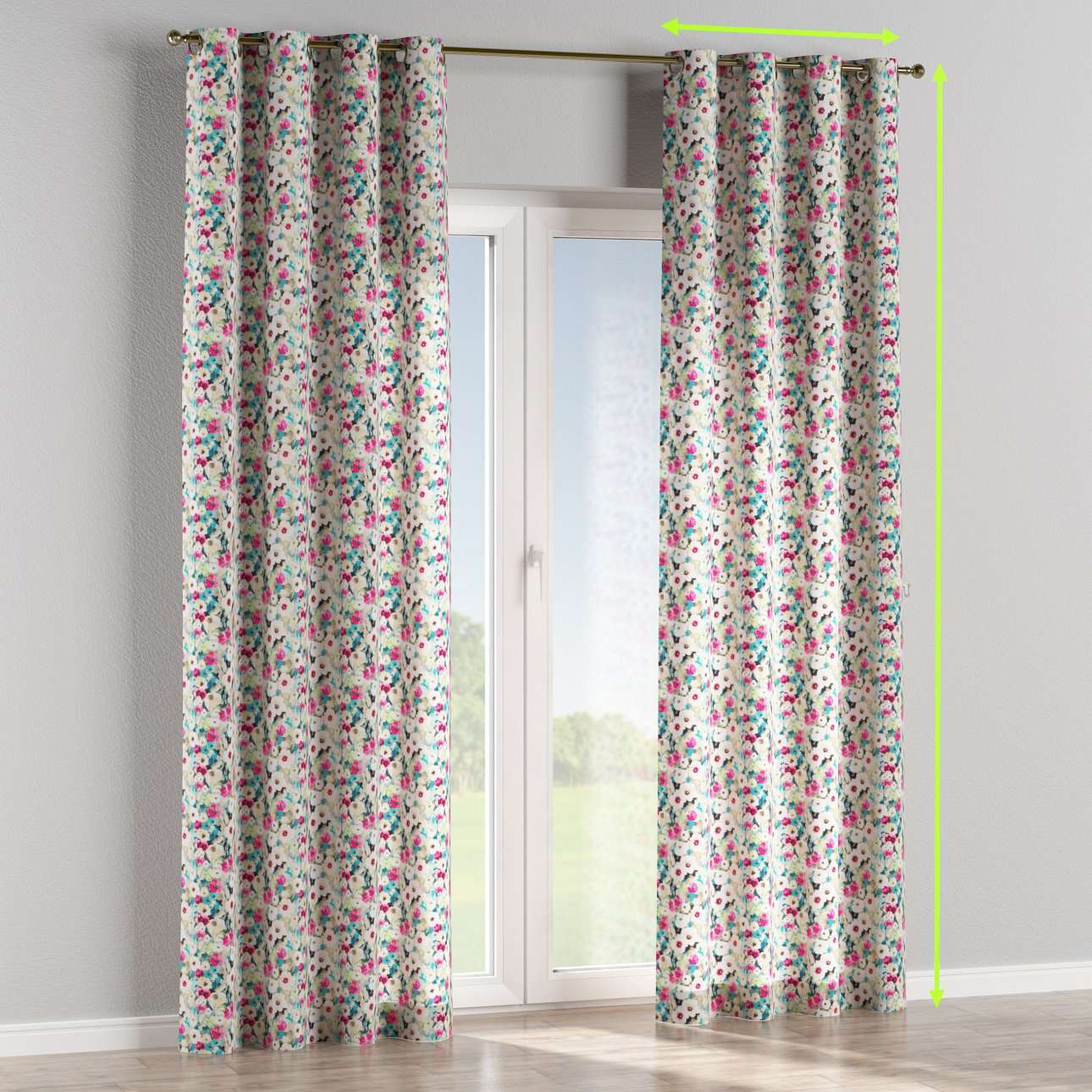 Eyelet lined curtains in collection Monet, fabric: 140-10