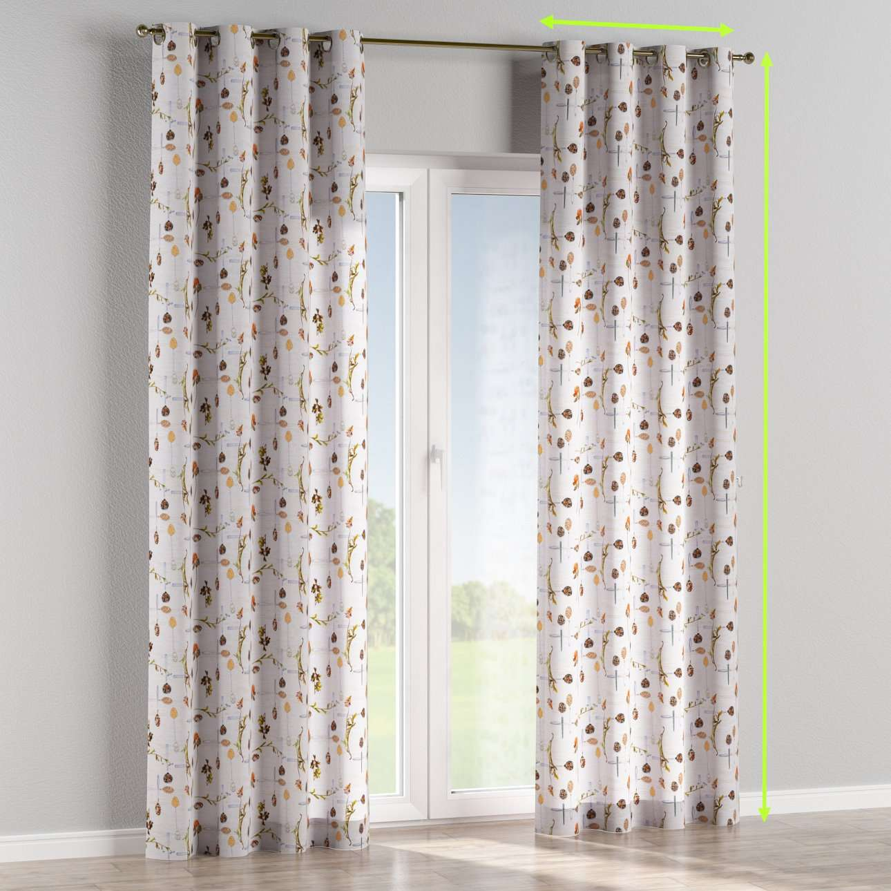 Eyelet lined curtains in collection Flowers, fabric: 140-11