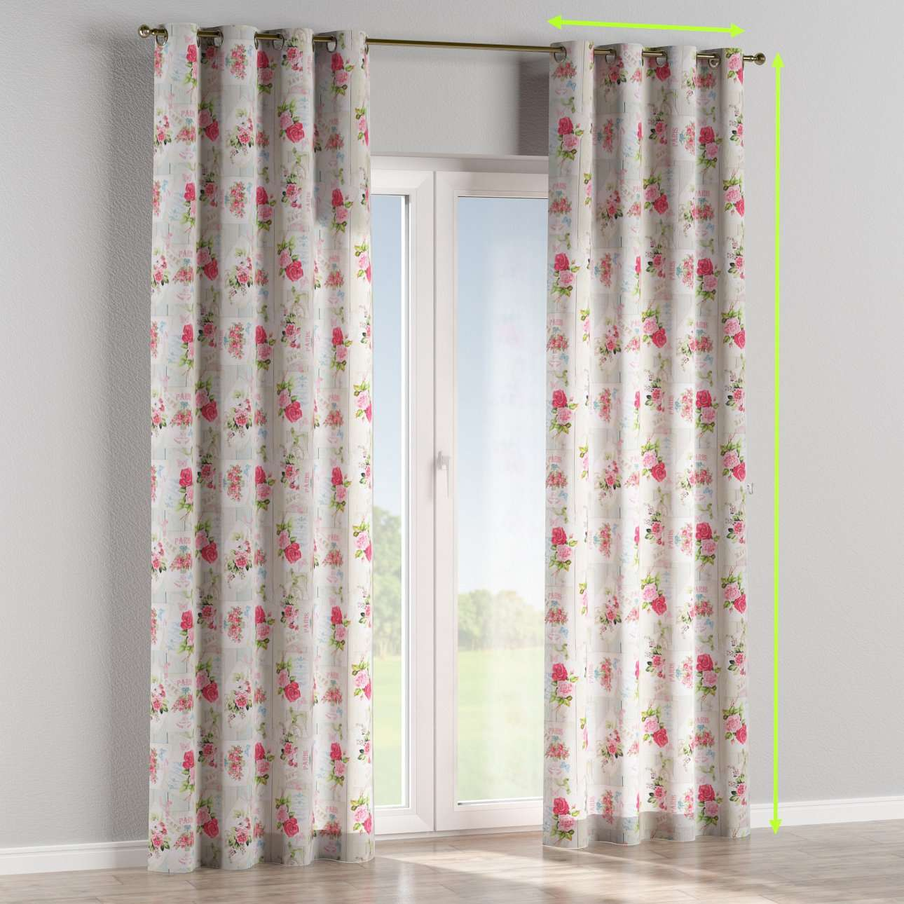 Eyelet lined curtains in collection Ashley, fabric: 140-19