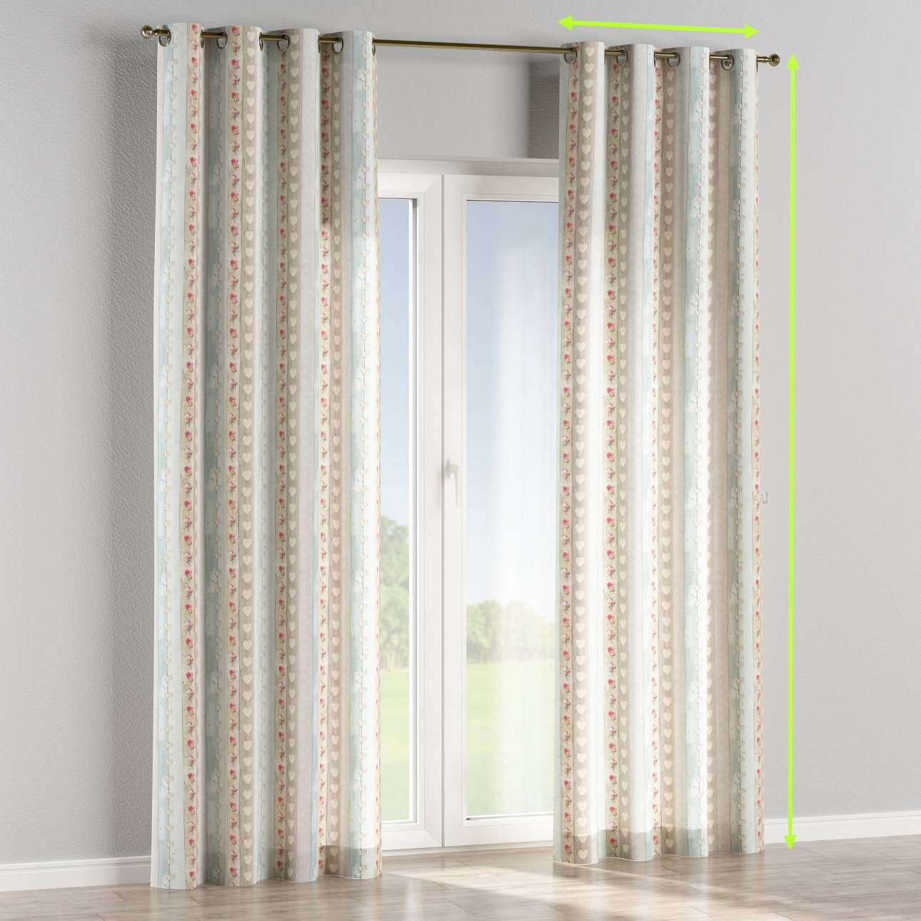 Eyelet lined curtains in collection Ashley, fabric: 140-20
