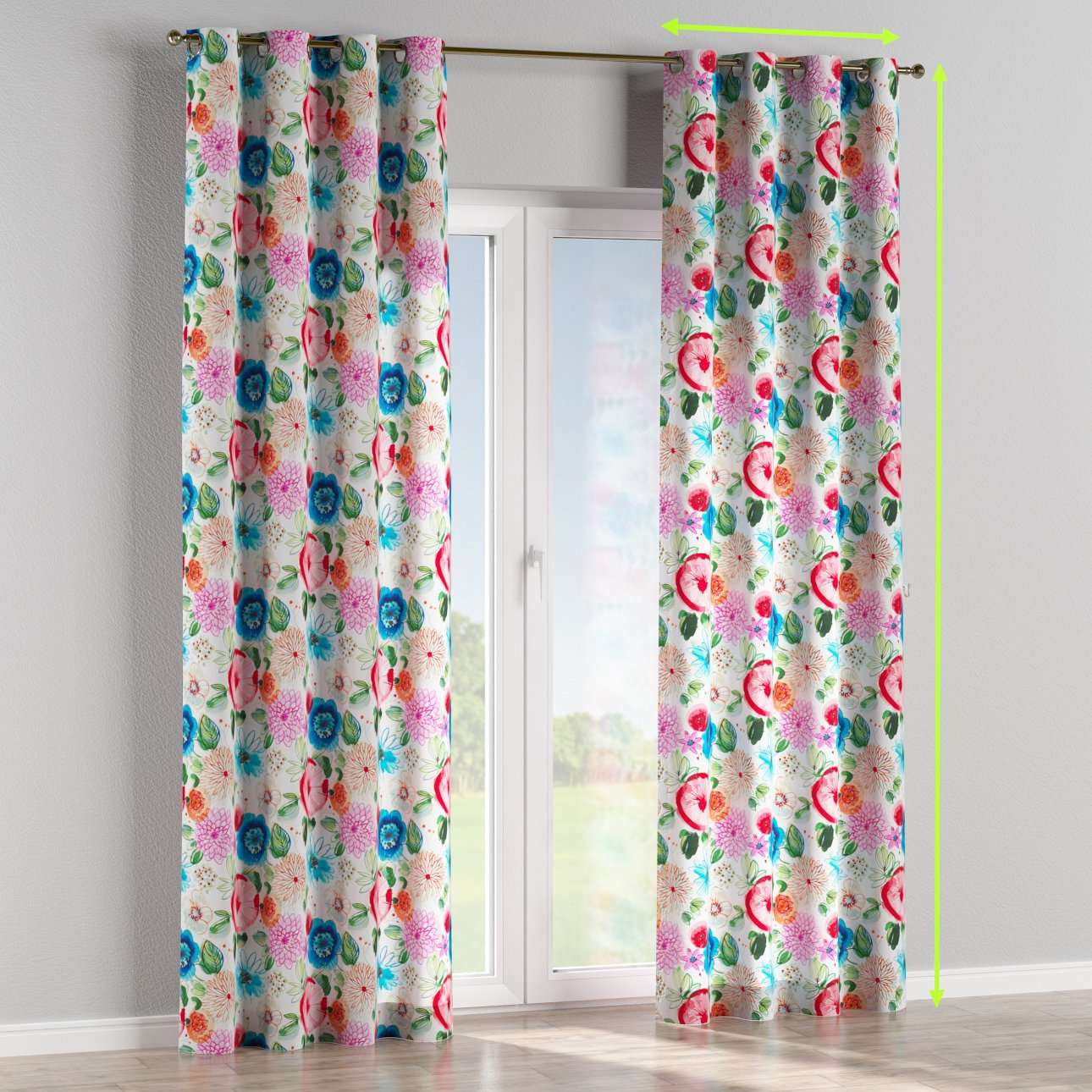 Eyelet lined curtains in collection New Art, fabric: 140-24