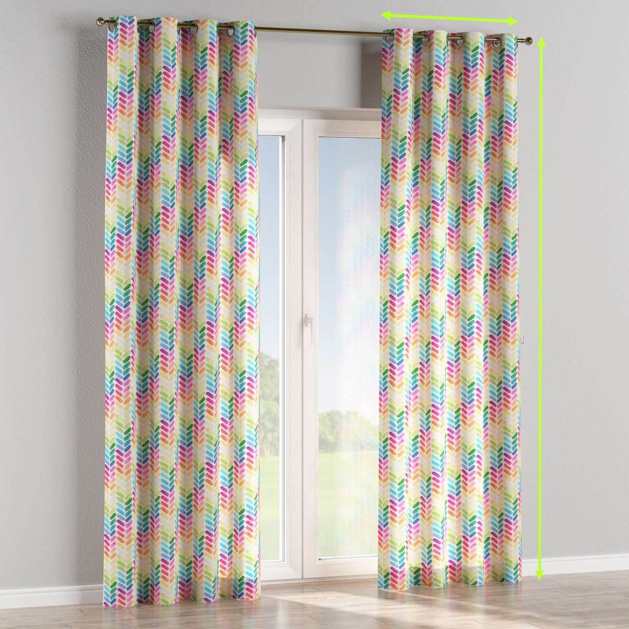 Eyelet lined curtains in collection New Art, fabric: 140-25