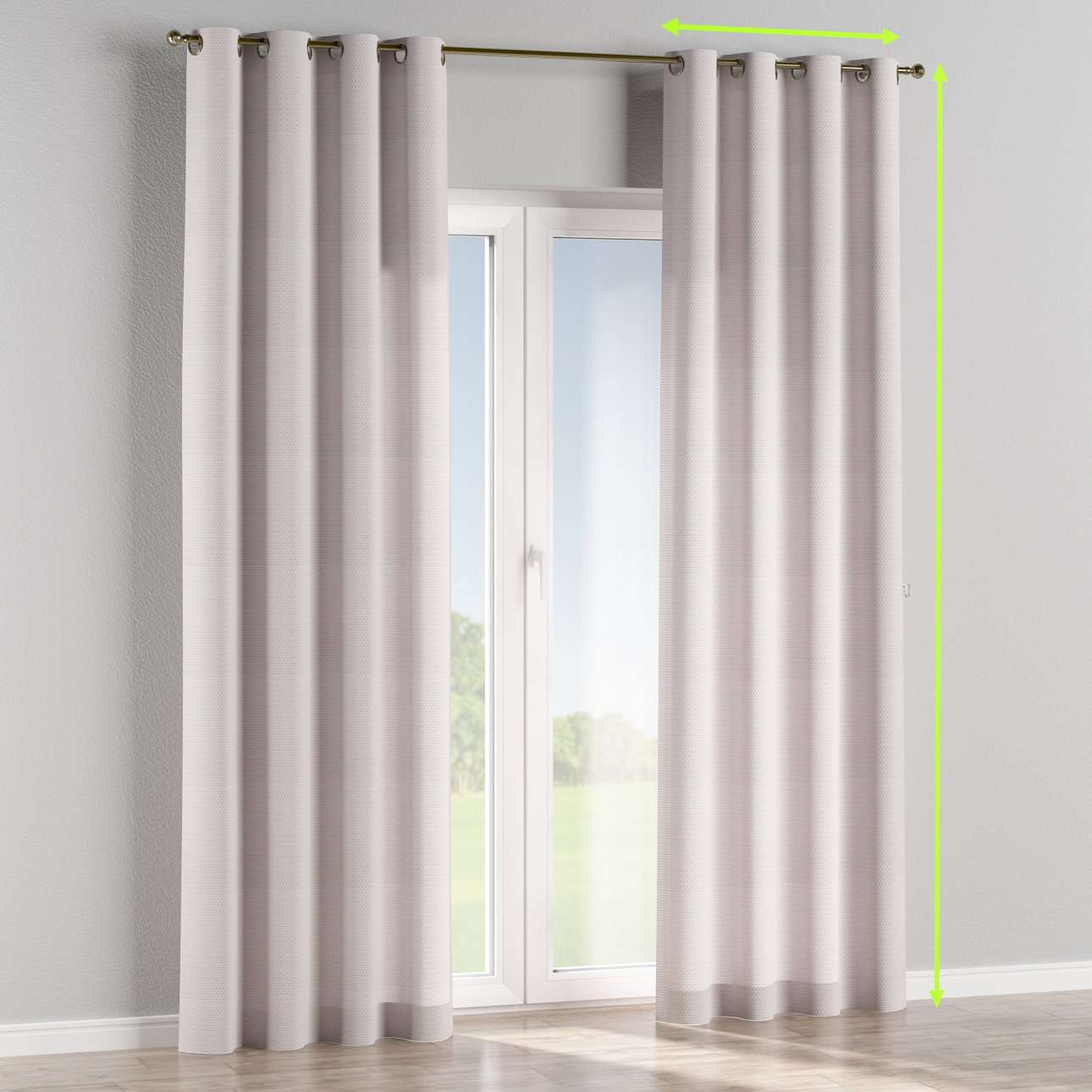 Eyelet lined curtains in collection Rustica, fabric: 140-28