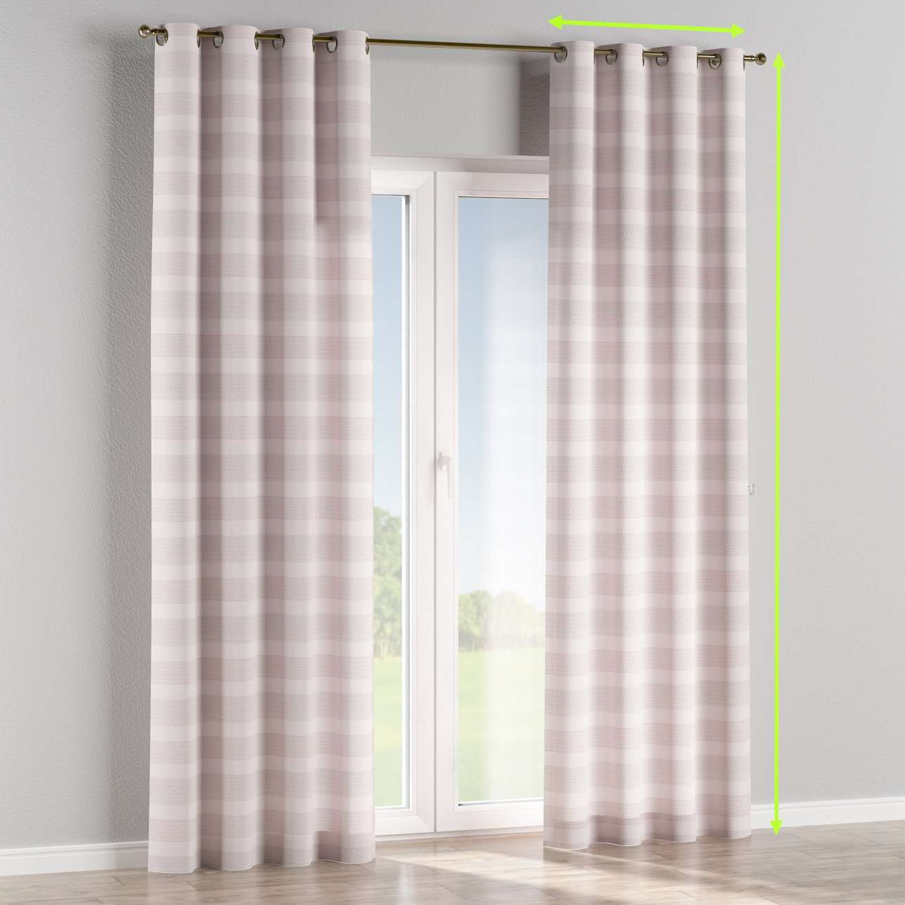 Eyelet lined curtains in collection Rustica, fabric: 140-29