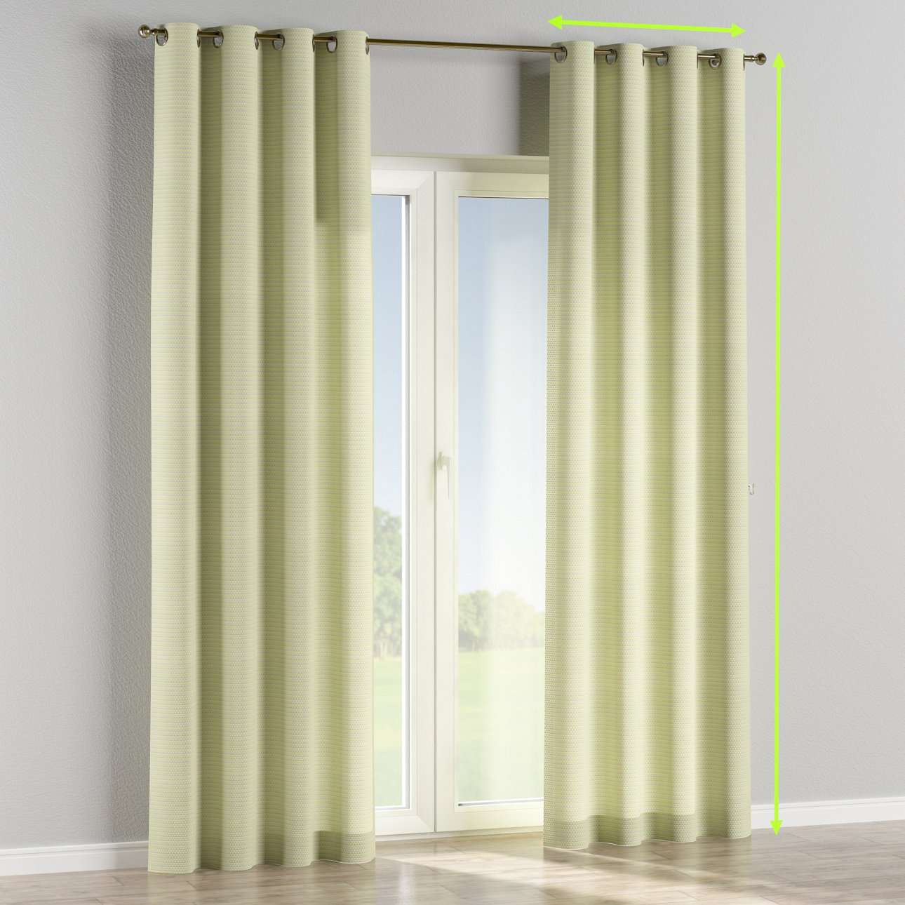 Eyelet lined curtains in collection Rustica, fabric: 140-34