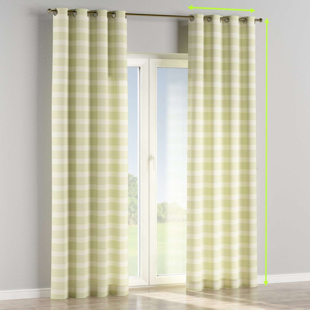 Eyelet lined curtains in collection Rustica, fabric: 140-35