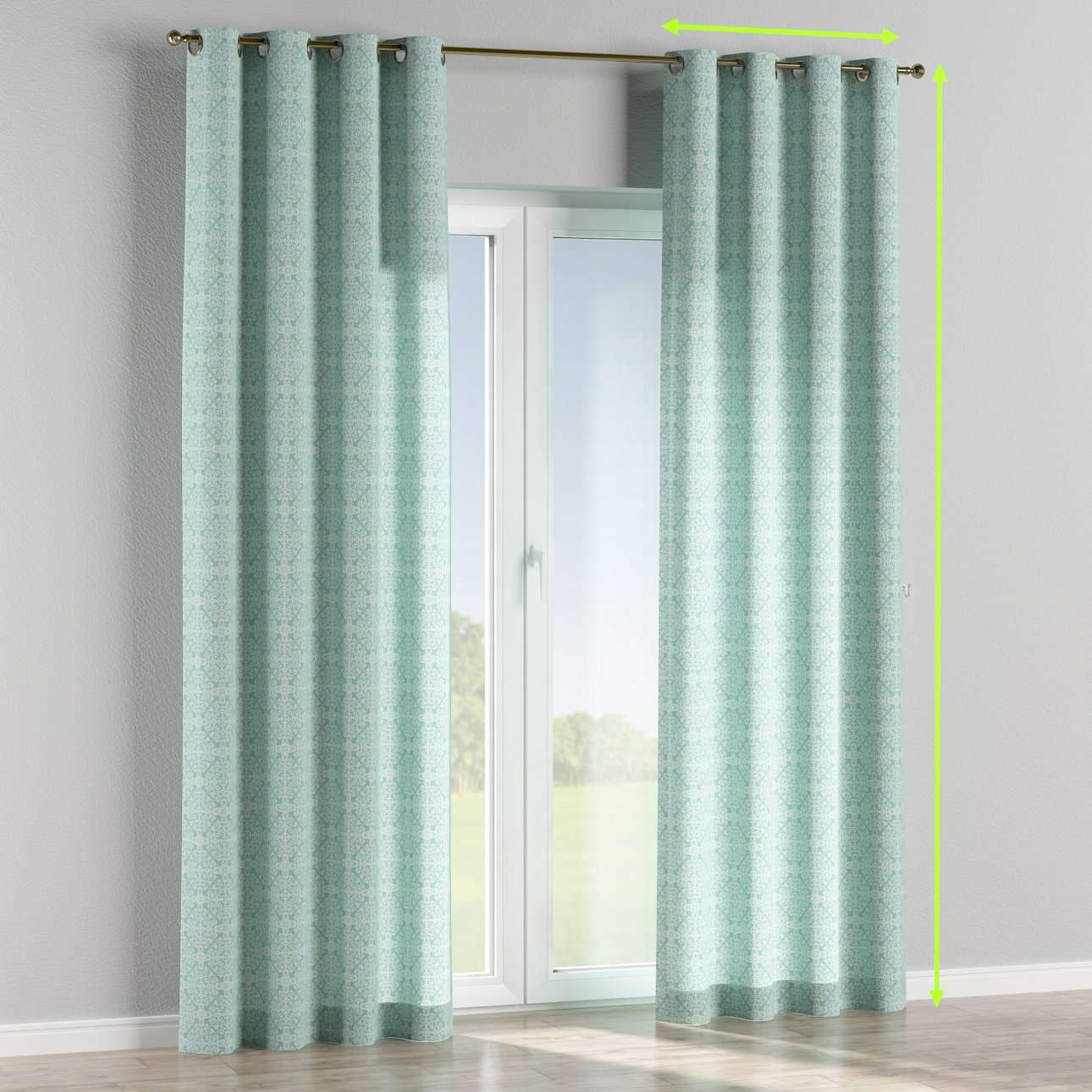 Eyelet lined curtains in collection Flowers, fabric: 140-37