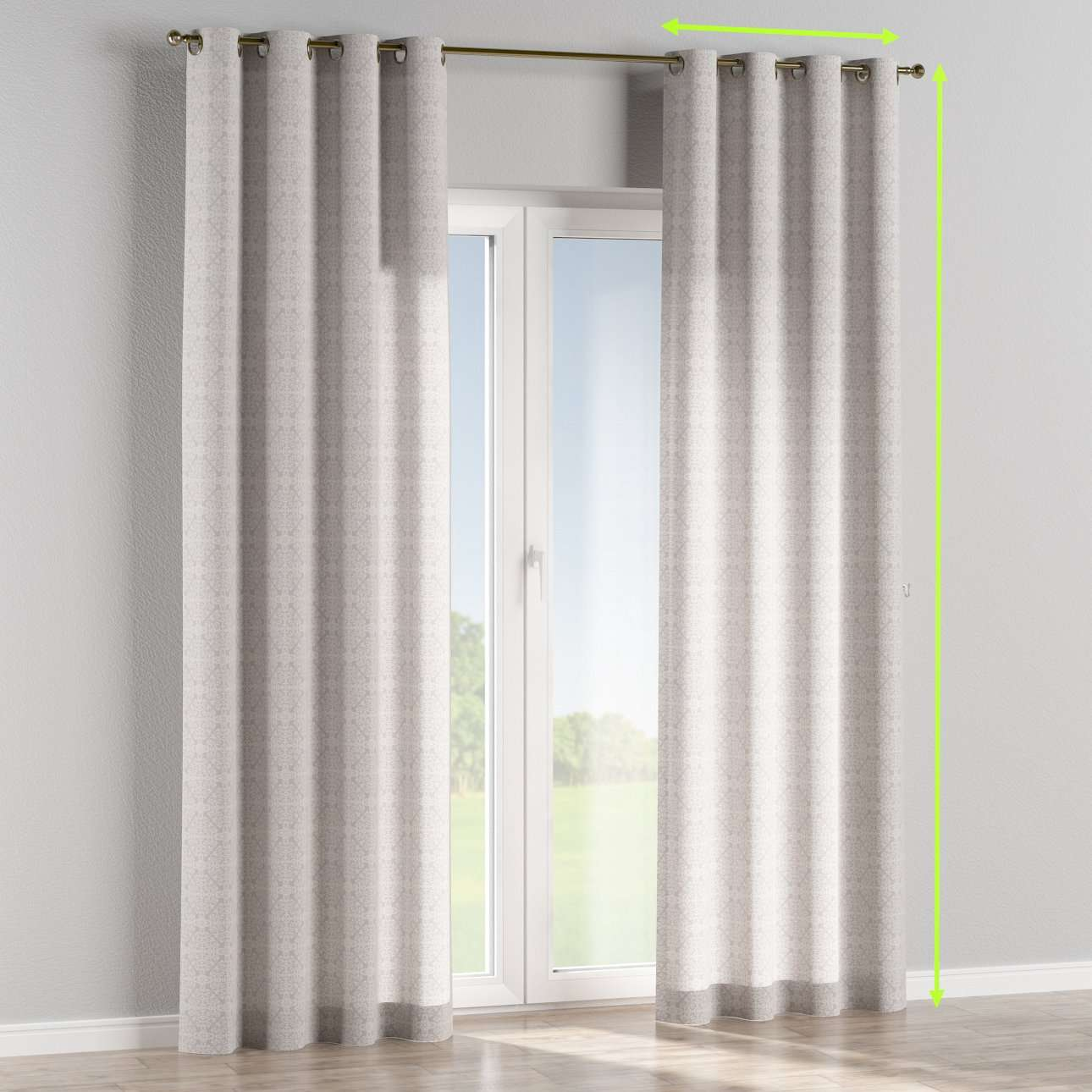 Eyelet lined curtains in collection Flowers, fabric: 140-38