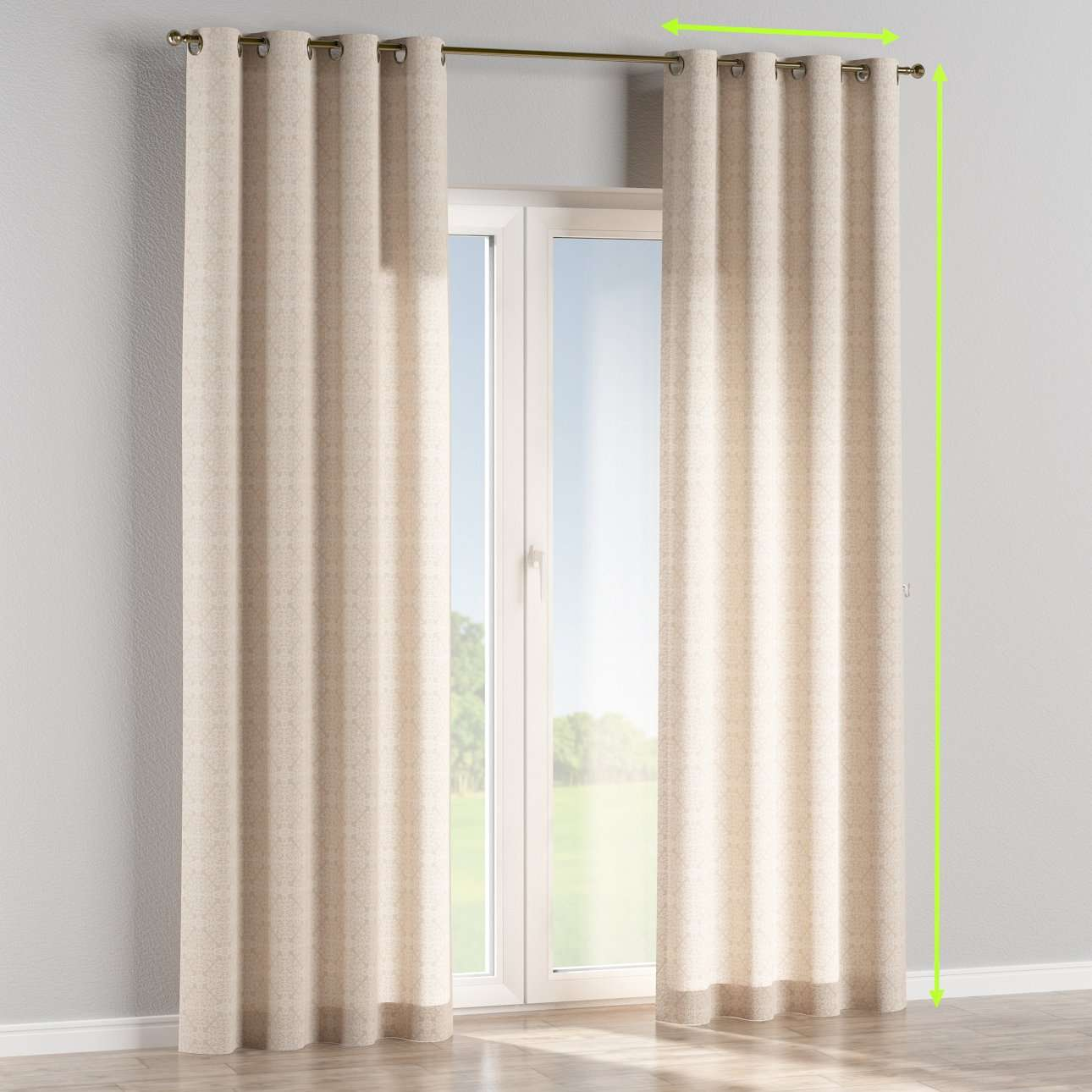 Eyelet lined curtains in collection Flowers, fabric: 140-39