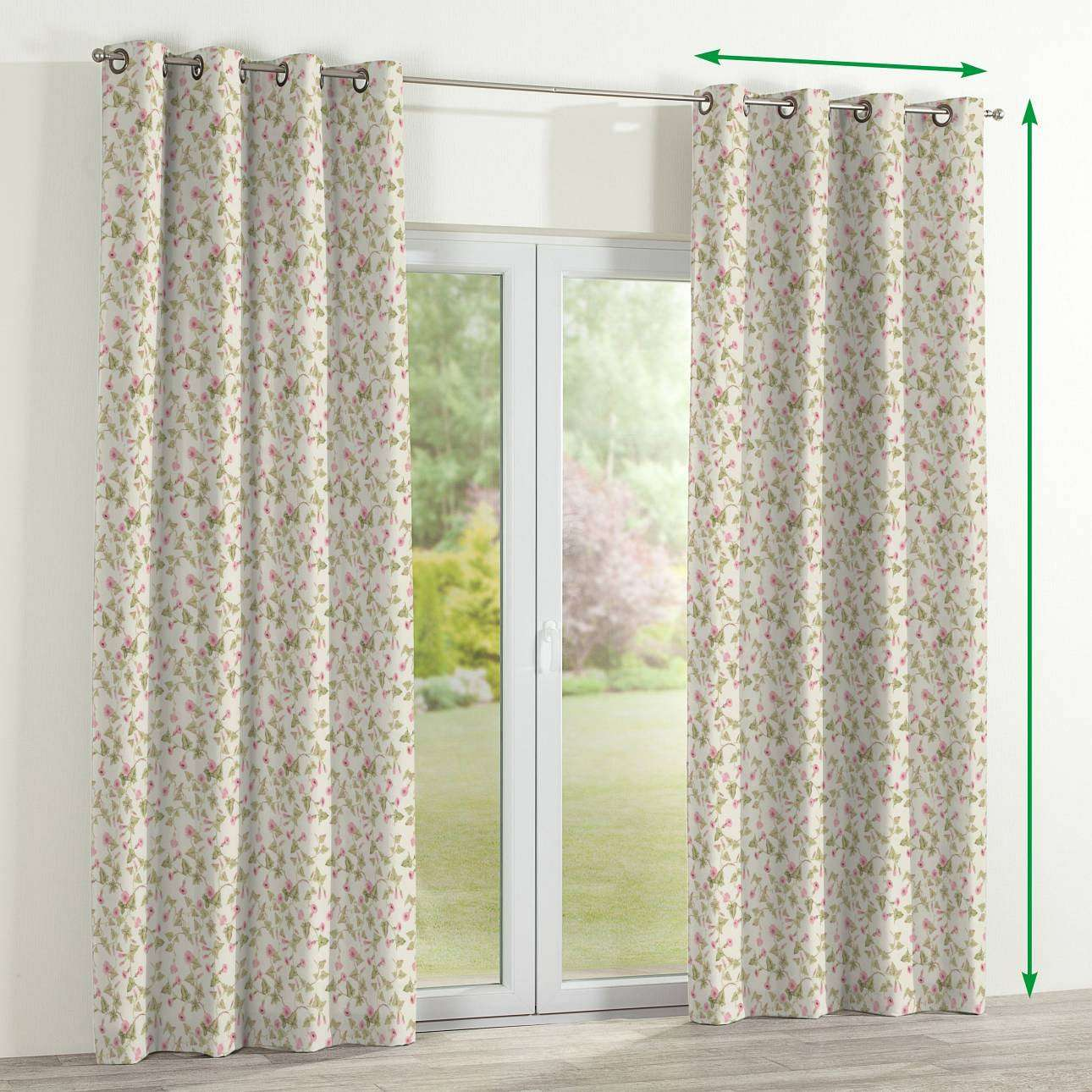 Eyelet lined curtains in collection Mirella, fabric: 140-41