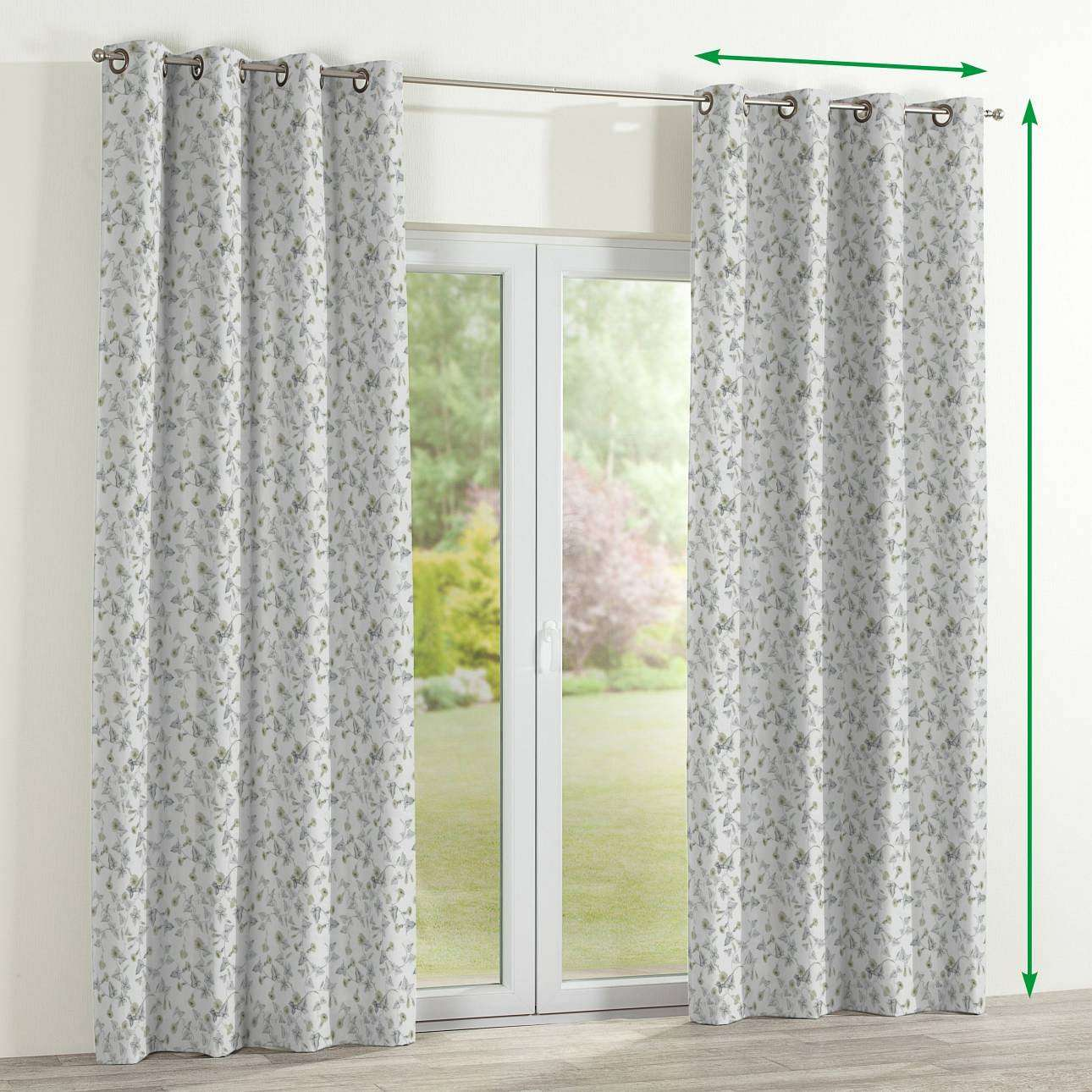 Eyelet lined curtains in collection Mirella, fabric: 140-42