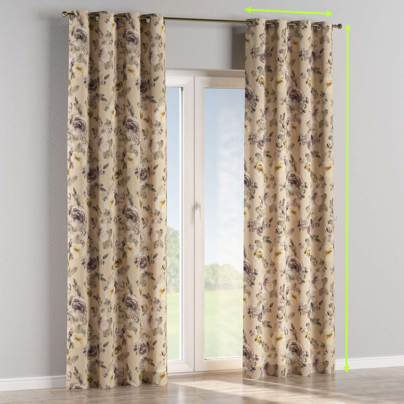Eyelet lined curtains in collection Londres, fabric: 140-44