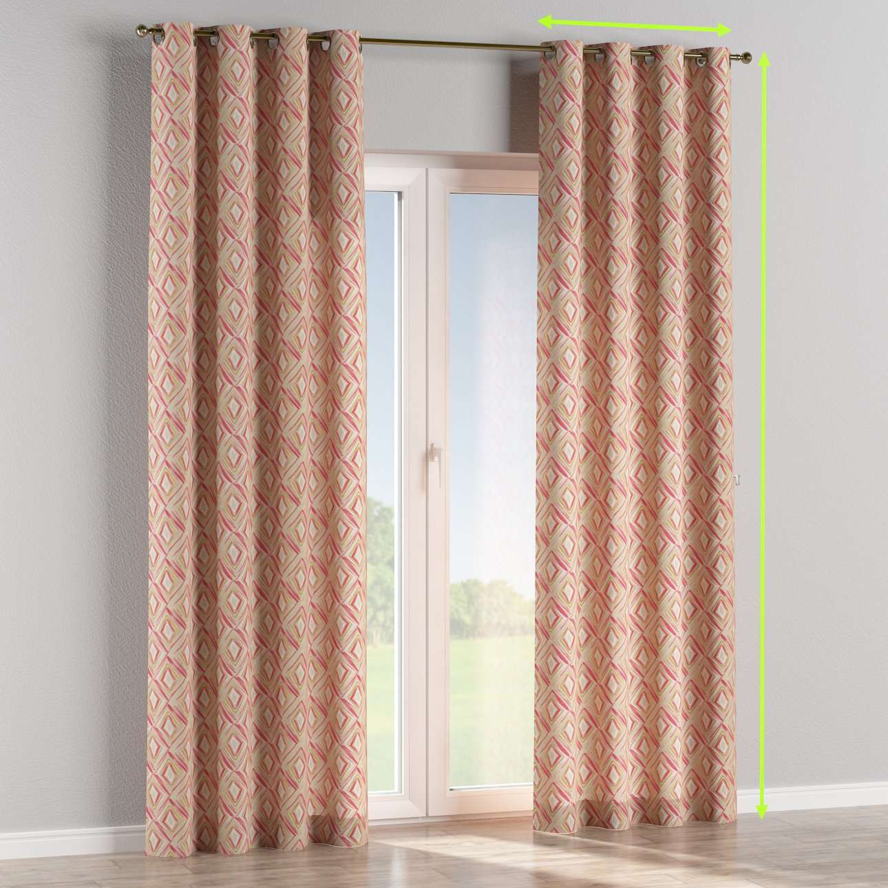 Eyelet lined curtains in collection Londres, fabric: 140-45