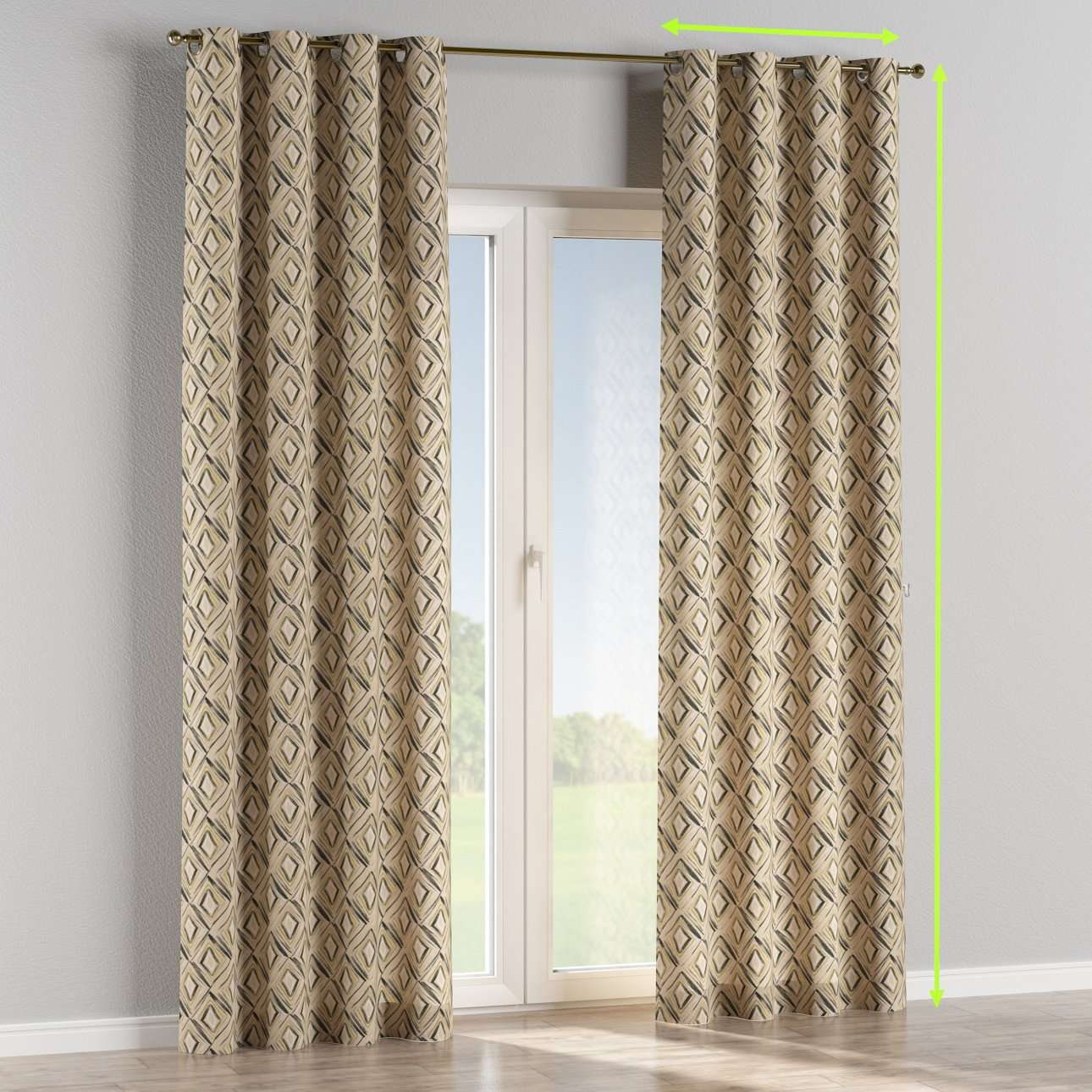 Eyelet lined curtains in collection Londres, fabric: 140-46
