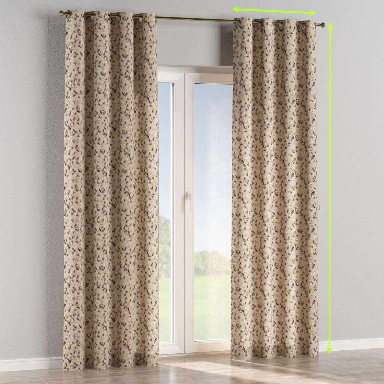 Eyelet lined curtains in collection Londres, fabric: 140-48