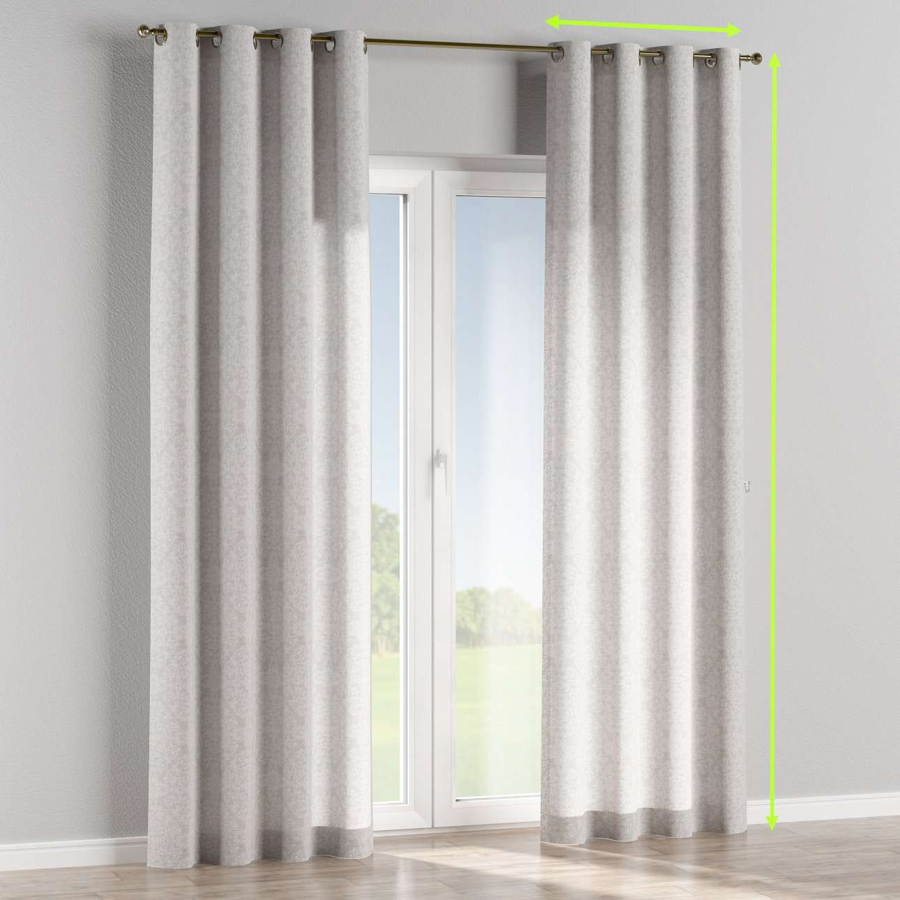 Eyelet lined curtains in collection Venice, fabric: 140-49