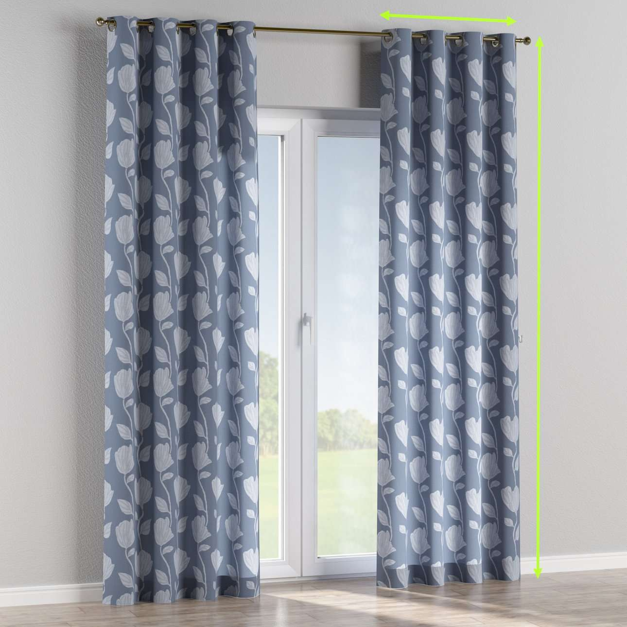 Eyelet lined curtains in collection Venice, fabric: 140-61