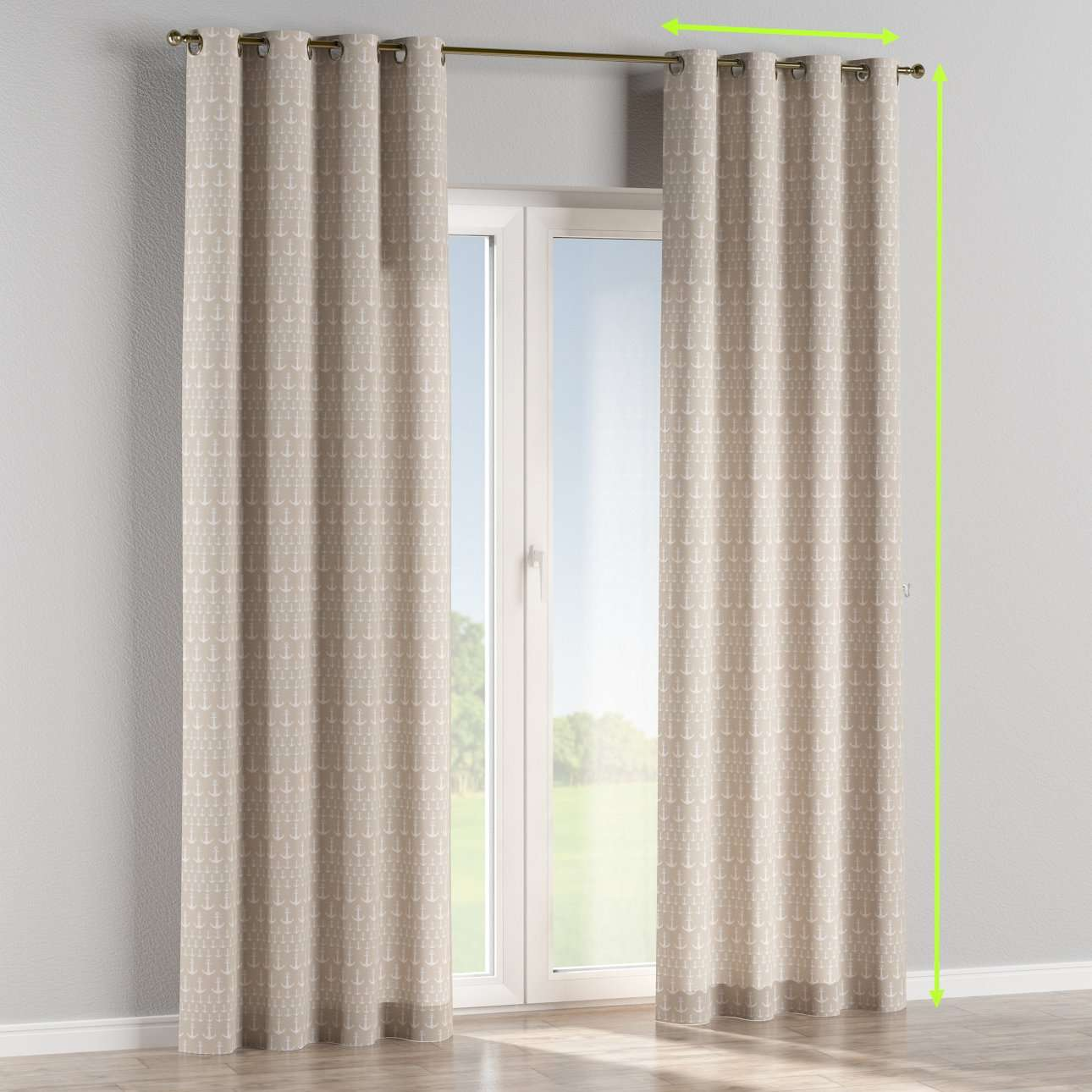 Eyelet lined curtains in collection Marina, fabric: 140-63