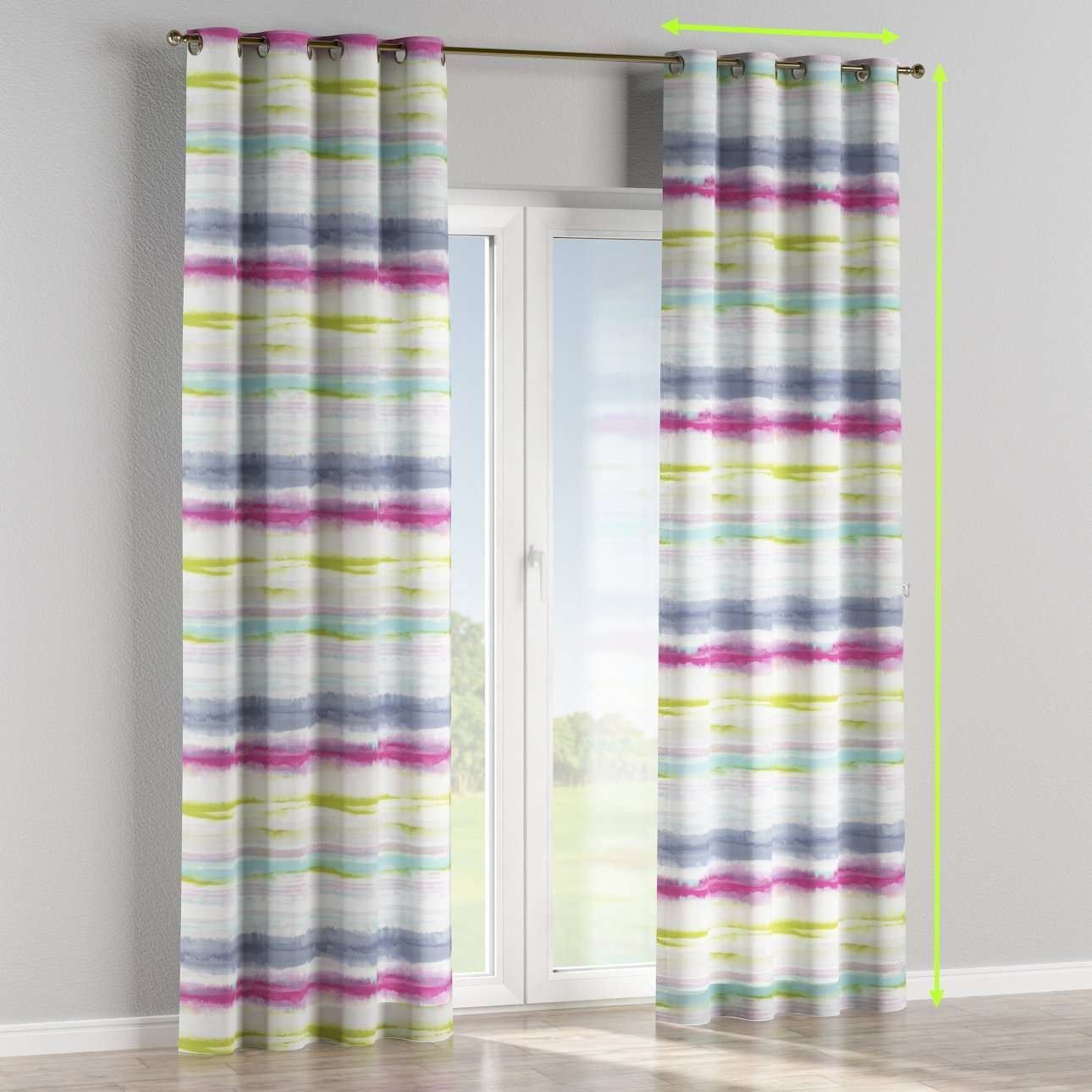 Eyelet lined curtains in collection Aquarelle, fabric: 140-69