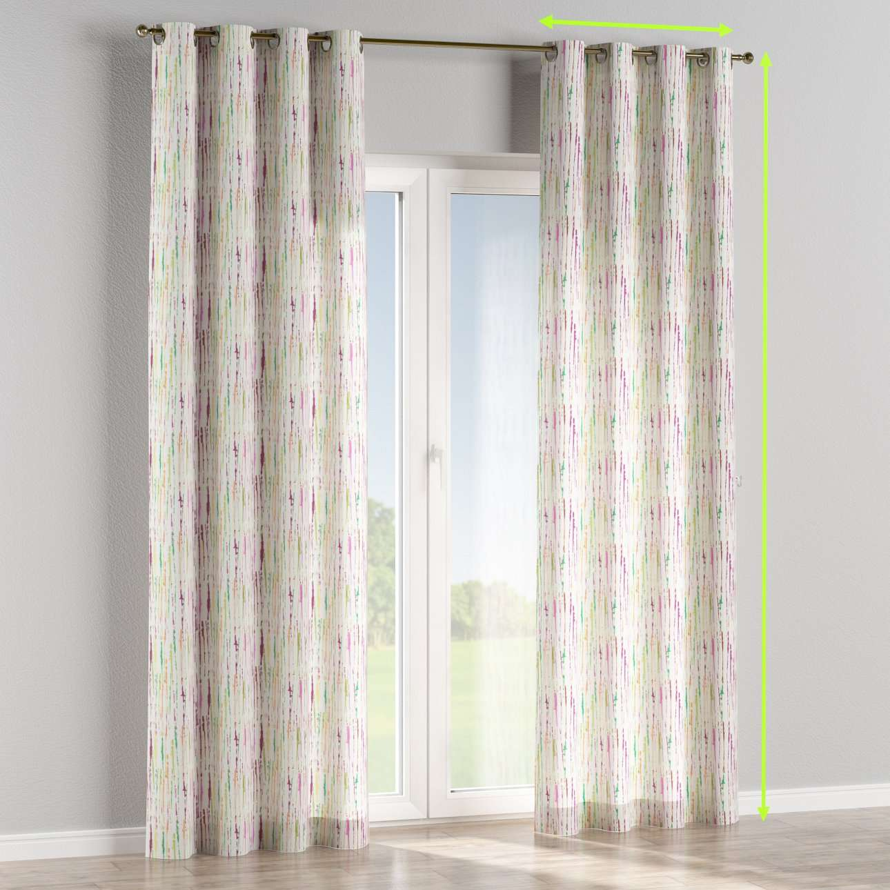 Eyelet lined curtains in collection Aquarelle, fabric: 140-72