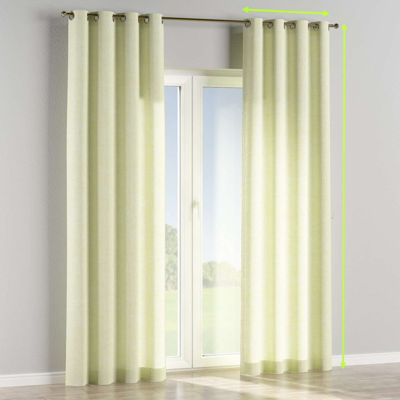 Eyelet lined curtains in collection Aquarelle, fabric: 140-73