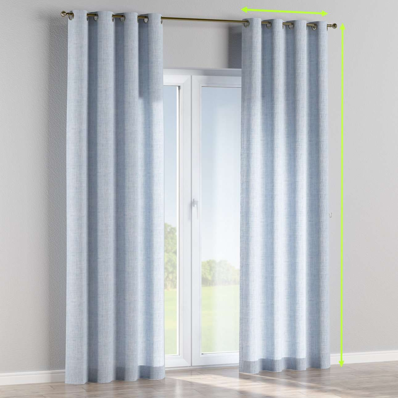 Eyelet lined curtains in collection Aquarelle, fabric: 140-74